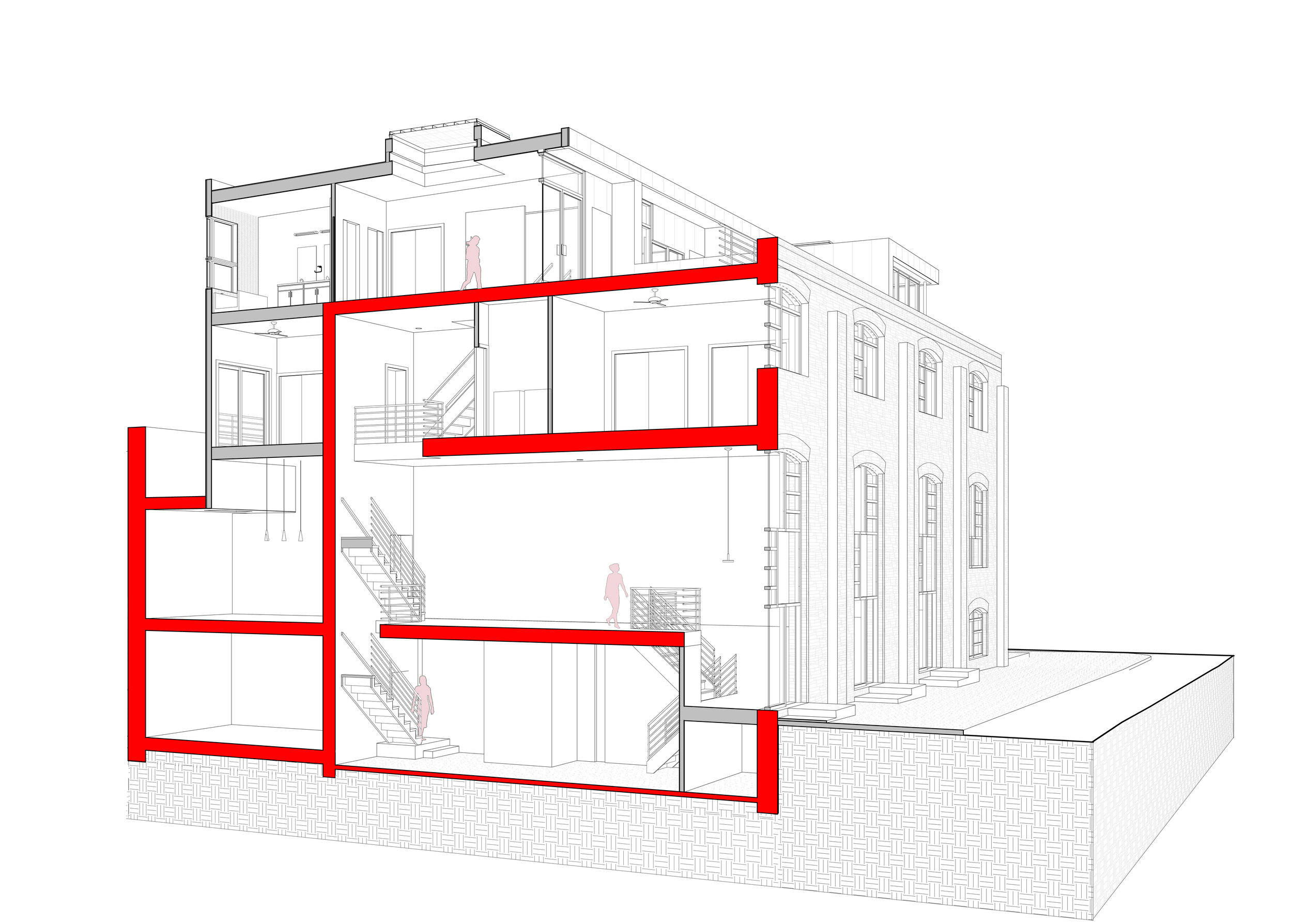 Building Section; the existing building profile is shown in red, and new construction is shown in gray