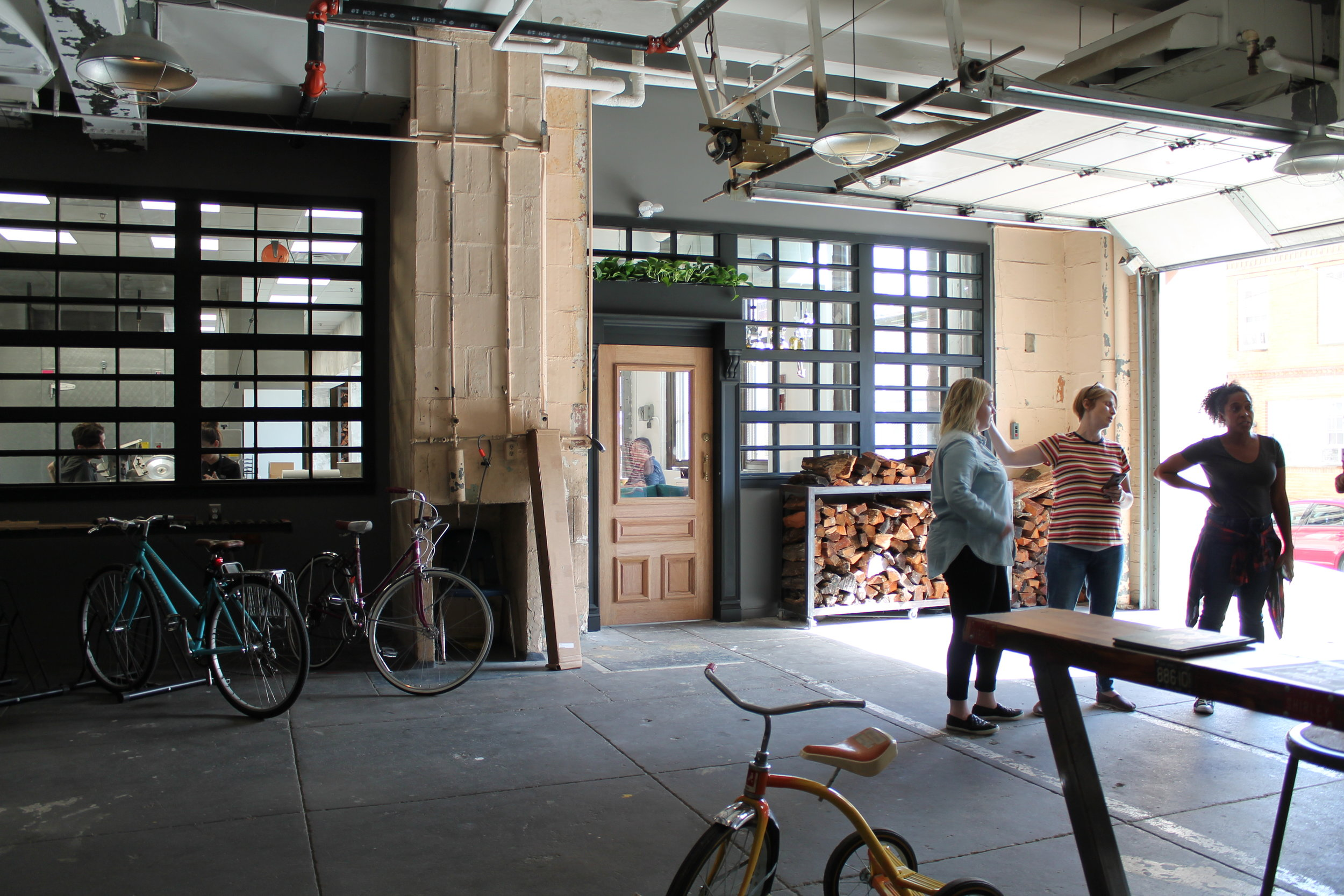 the main entrance from Dudley Street; the entrance is shared with a coffee shop and bike shop