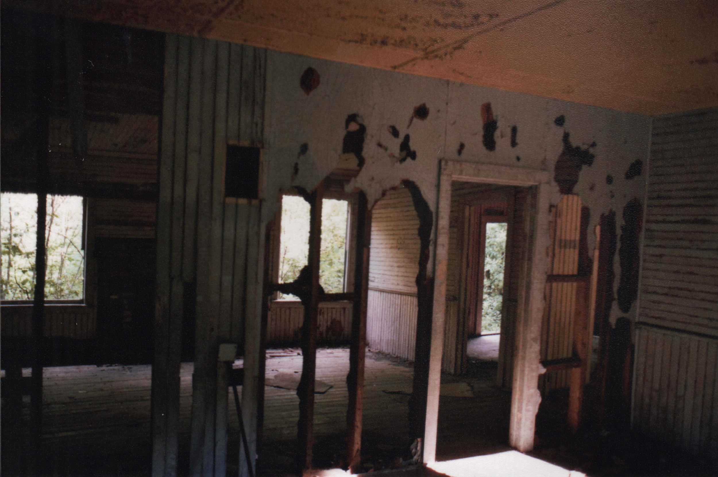 Demolition –   The plaster was mostly gone, exposing the lath and studs beneath