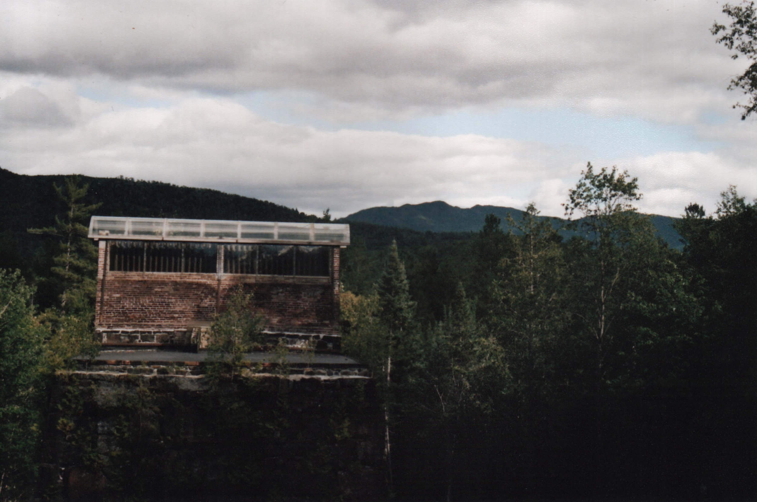 Stack –   The blast furnace as seen from the overlook above it, Cliff Mtn. and Redfield Mtn. beyond.