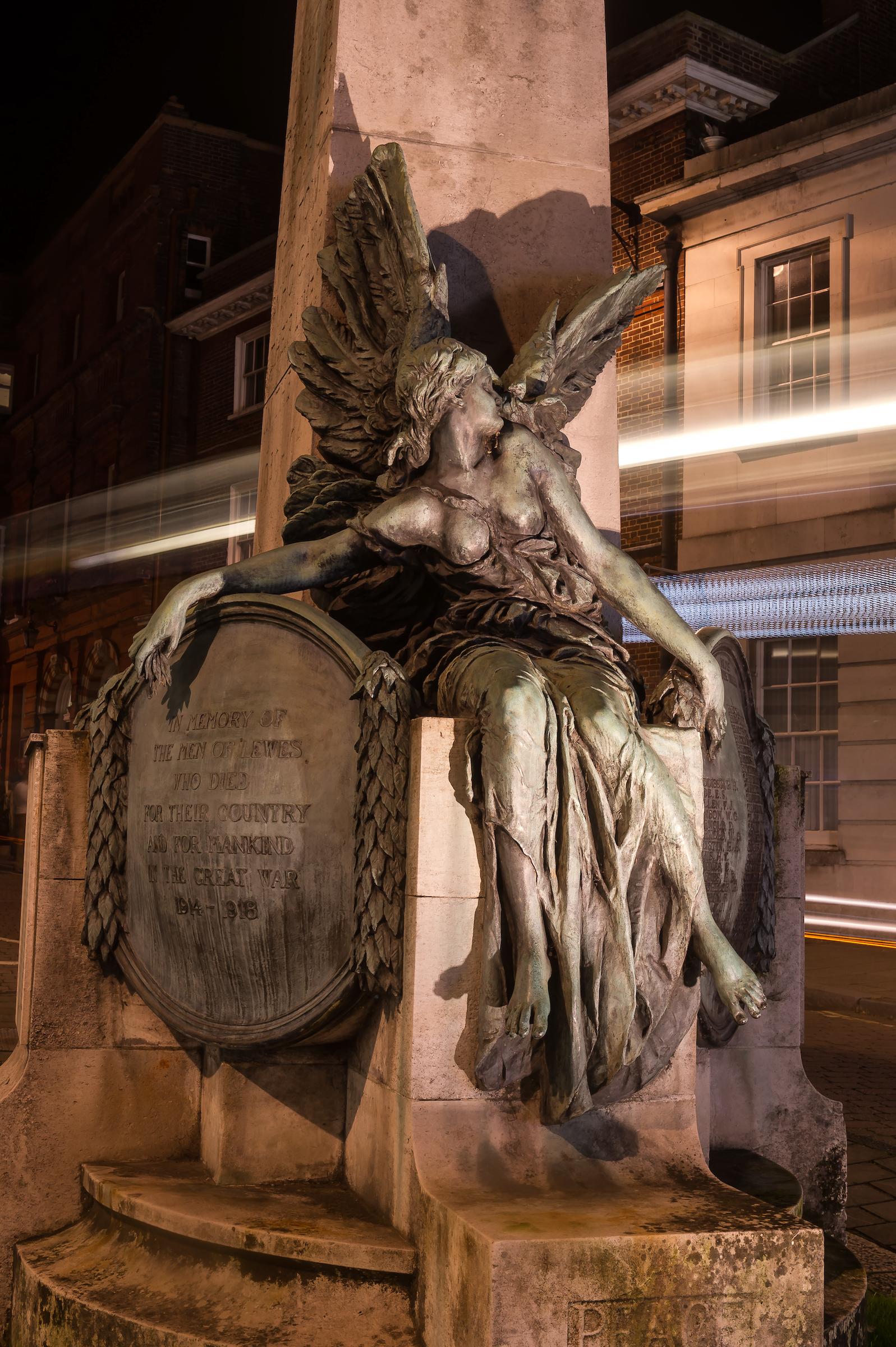 Graham Festenstein's War Memorial lighting brings the sculptures to life.