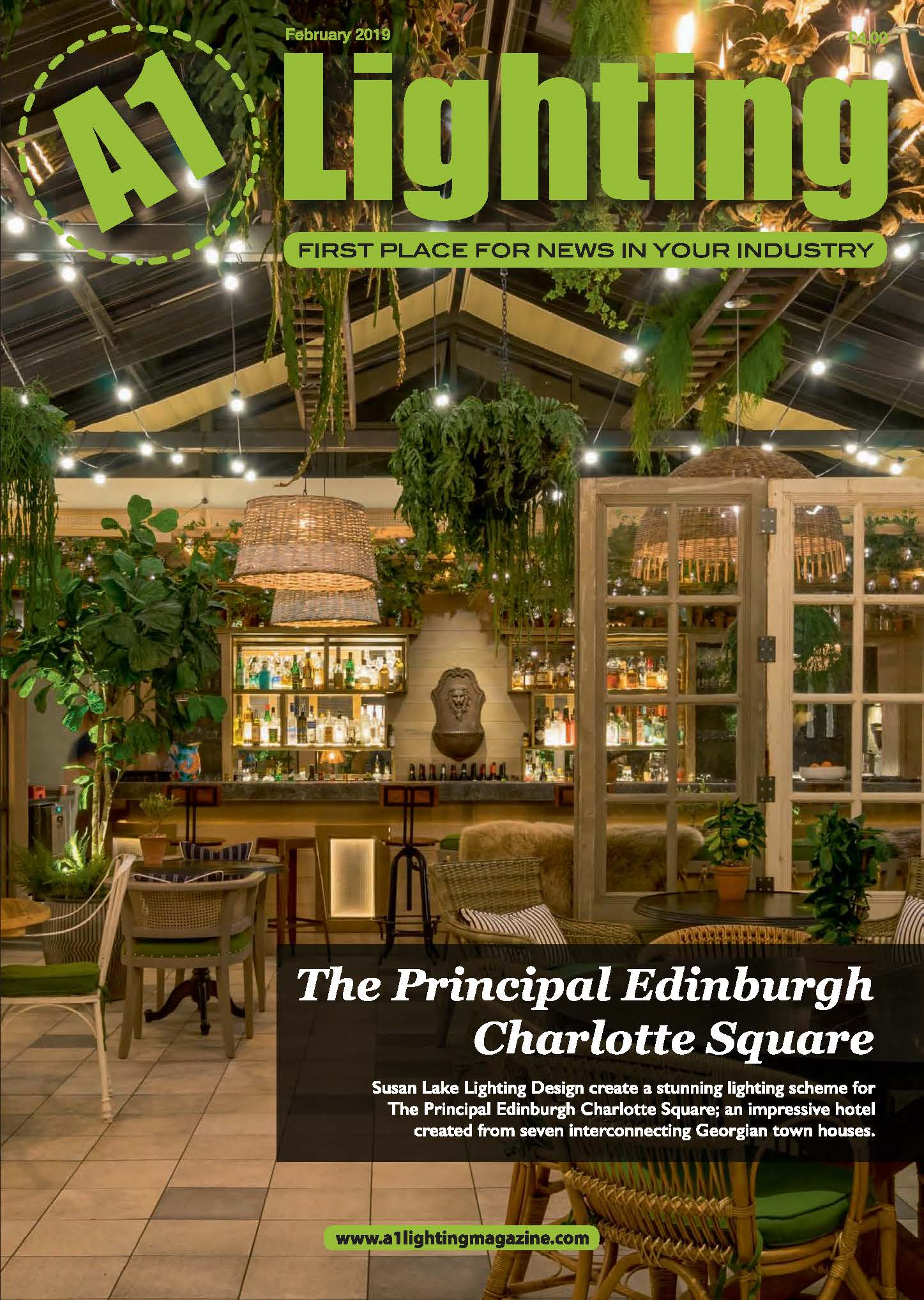 A1 LIGHTING MAGAZINE FEBRUARY '19THE PRINCIPAL EDINBURGH, CHARLOTTE SQUARE -