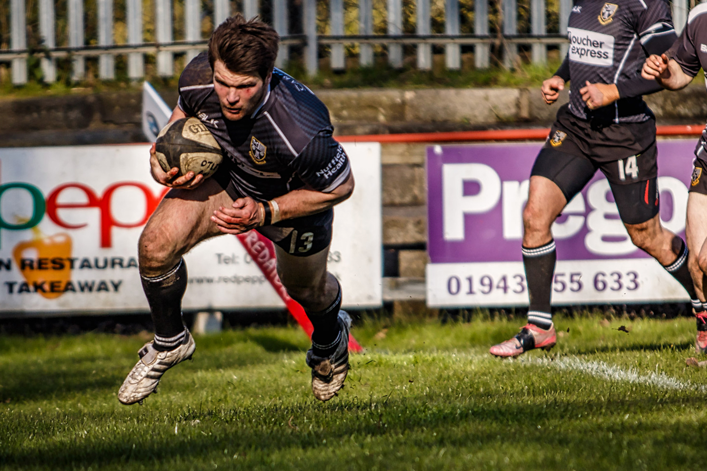 Otley's Michael Coady prepares to touch down