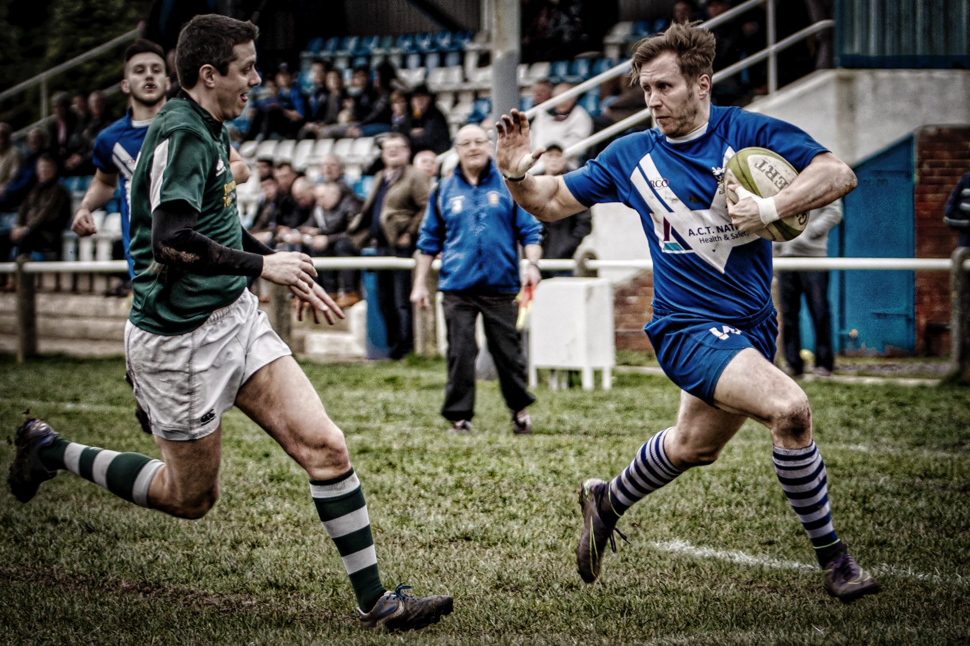 Craig Fawcett:Fending off to score down the left