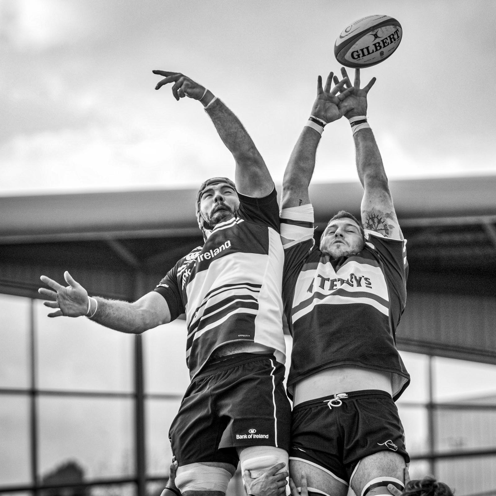 Knights' Matt Challinor stretches at a lineout ball