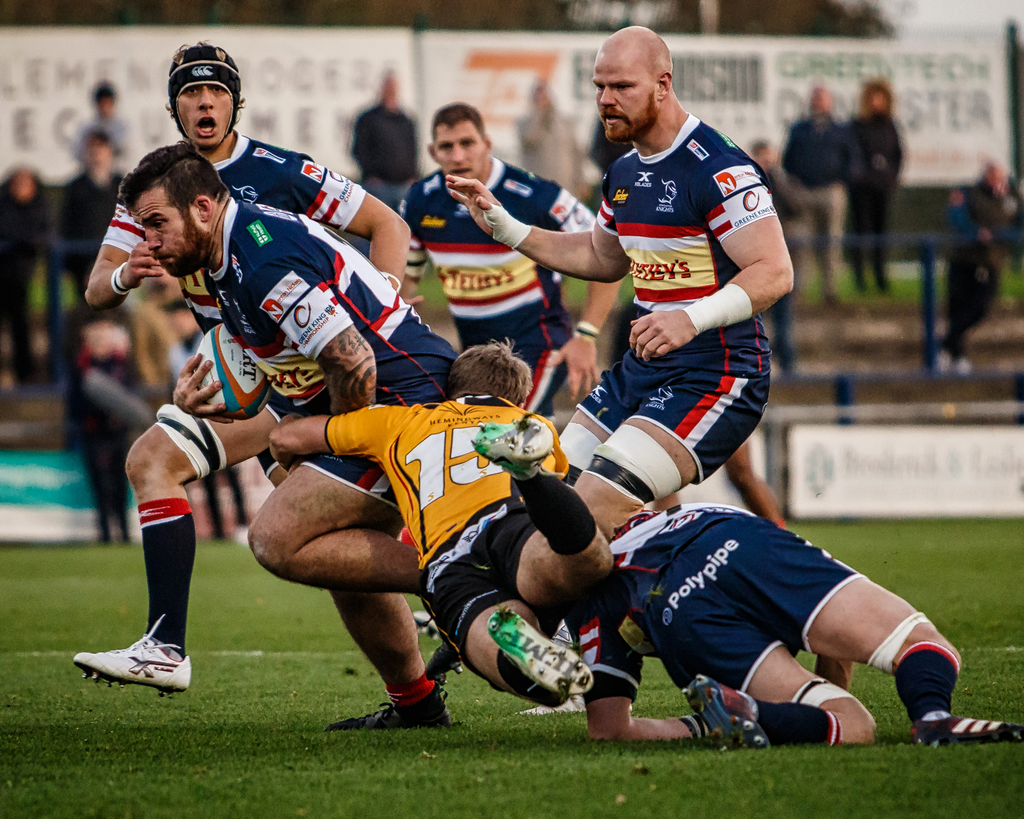 Owen Williams (I think) Driving Forward - love the airborne tackler!