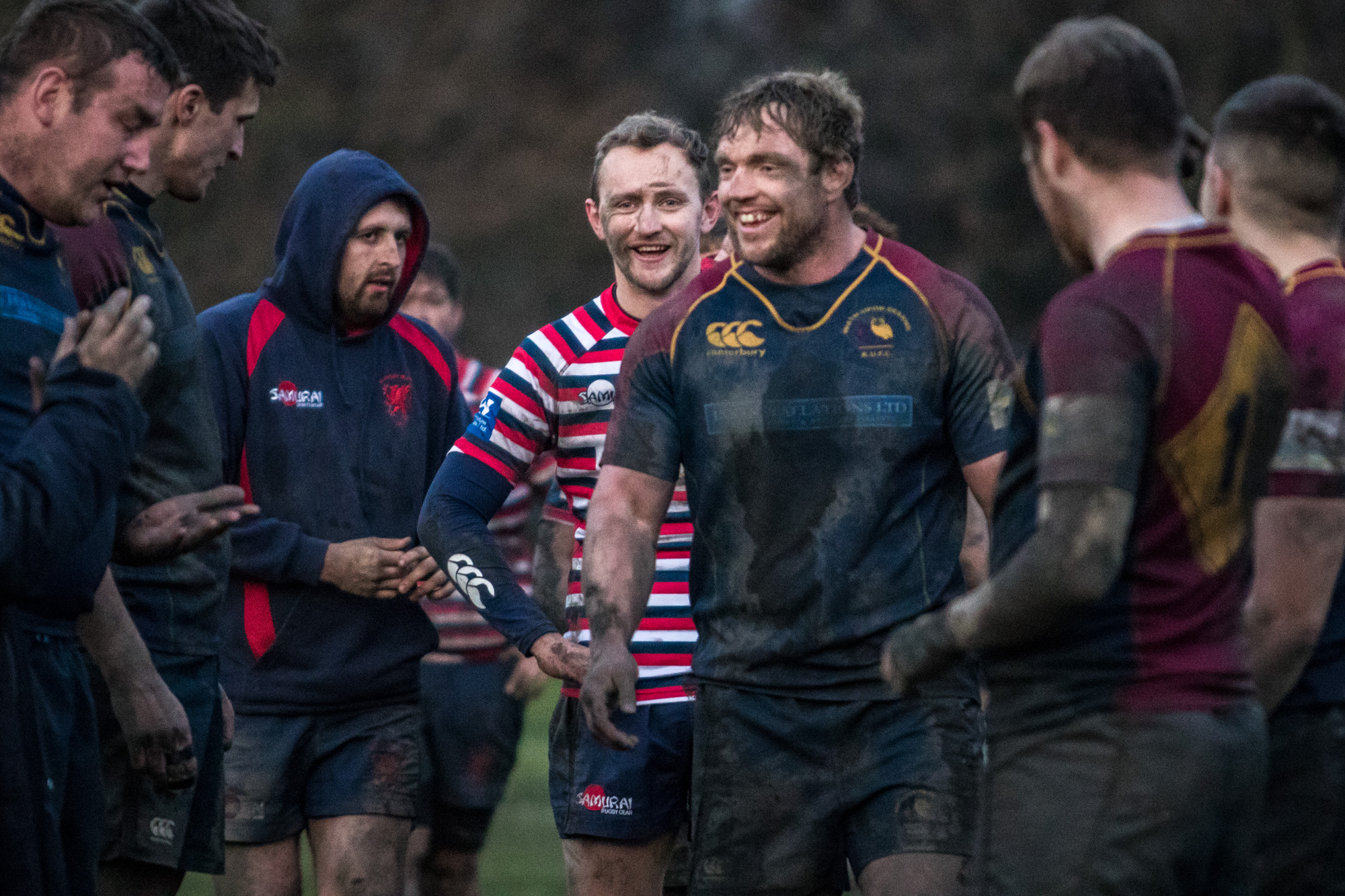Smiles all round at the end of the game