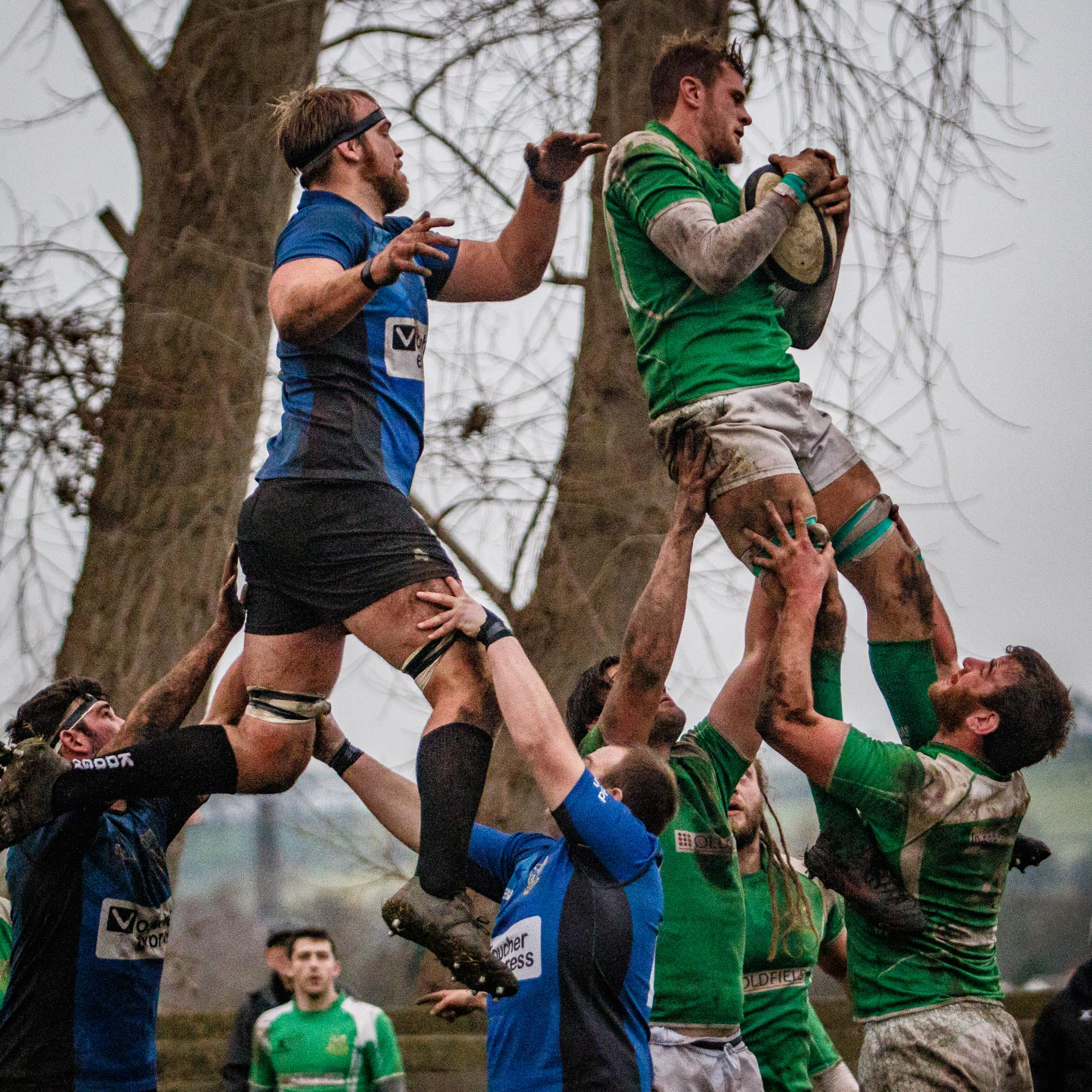 Otley's Brett Mitchell (left) and Wharfedale's George Hedgley - In The Trees