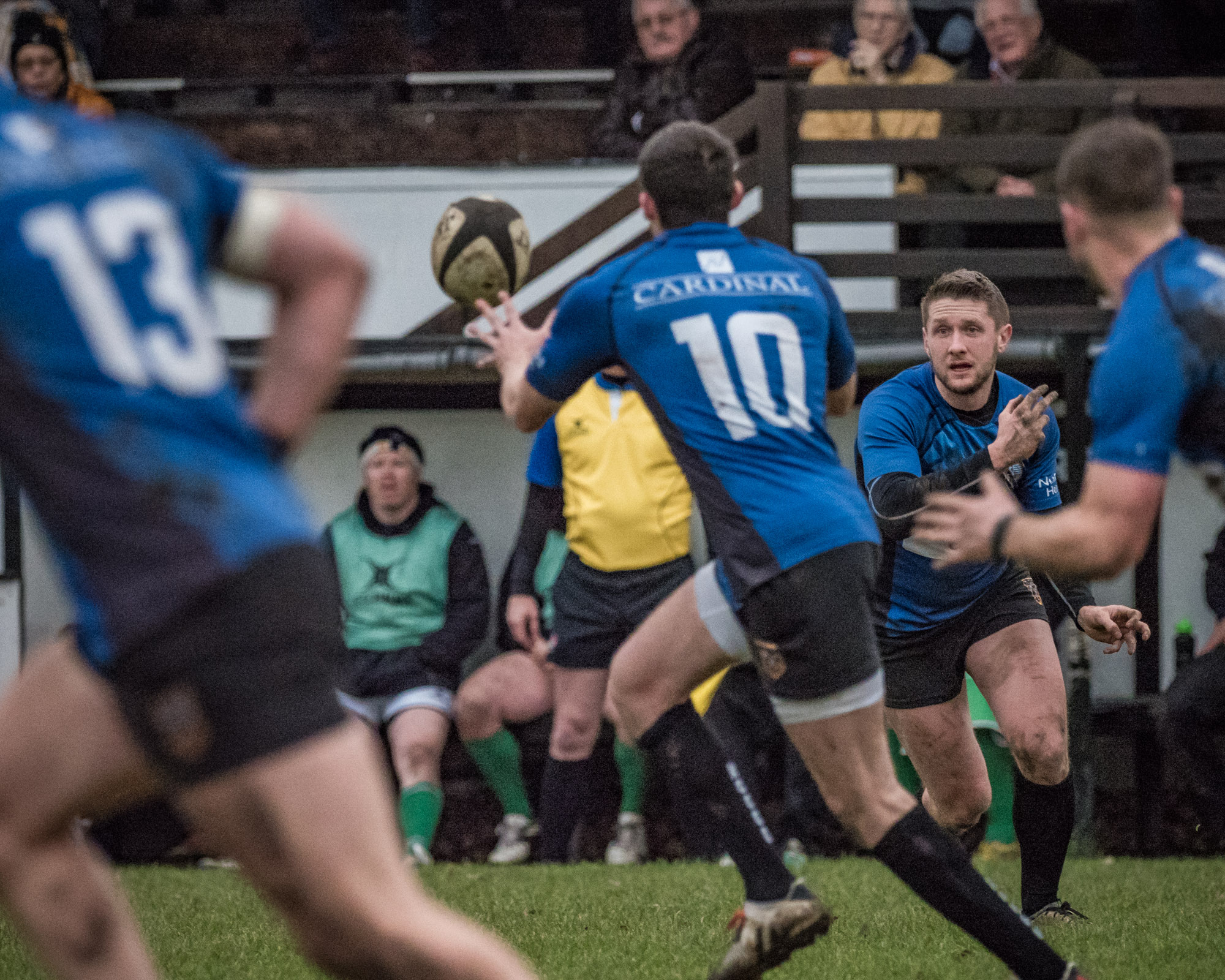 Pass from Otley scrum half (and try scorer) Joe Rowntree. Like the way he can be seen between the receiver and another team mate.