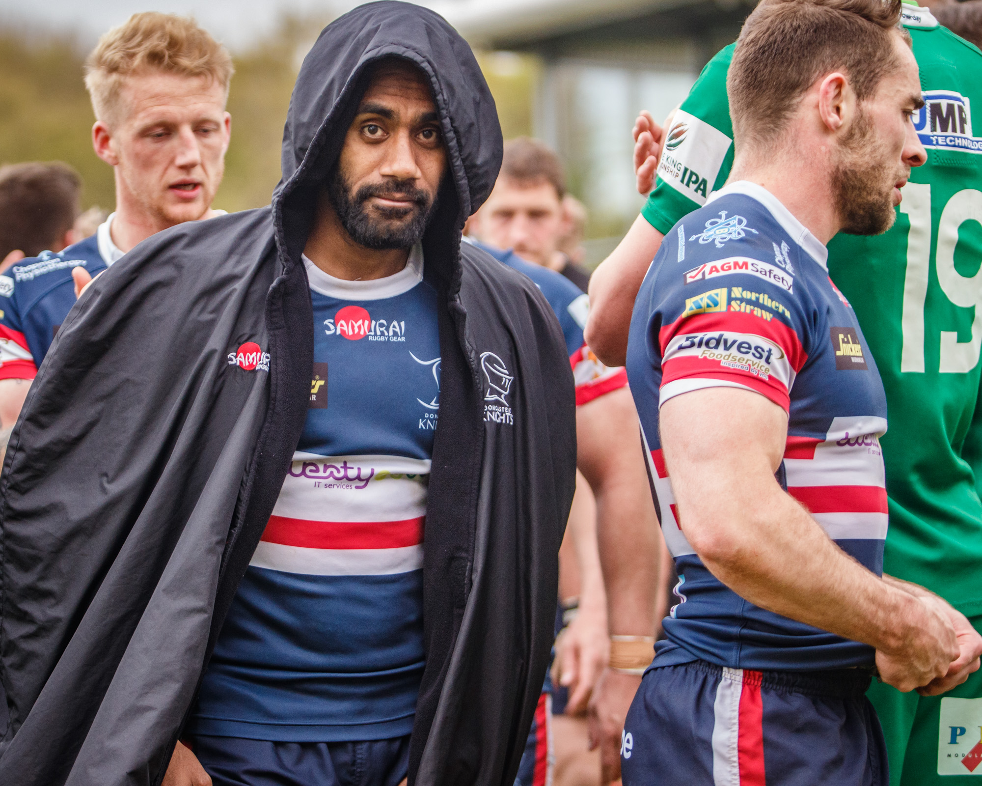 A hooded Andy Bulumakau, Doncaster Knights