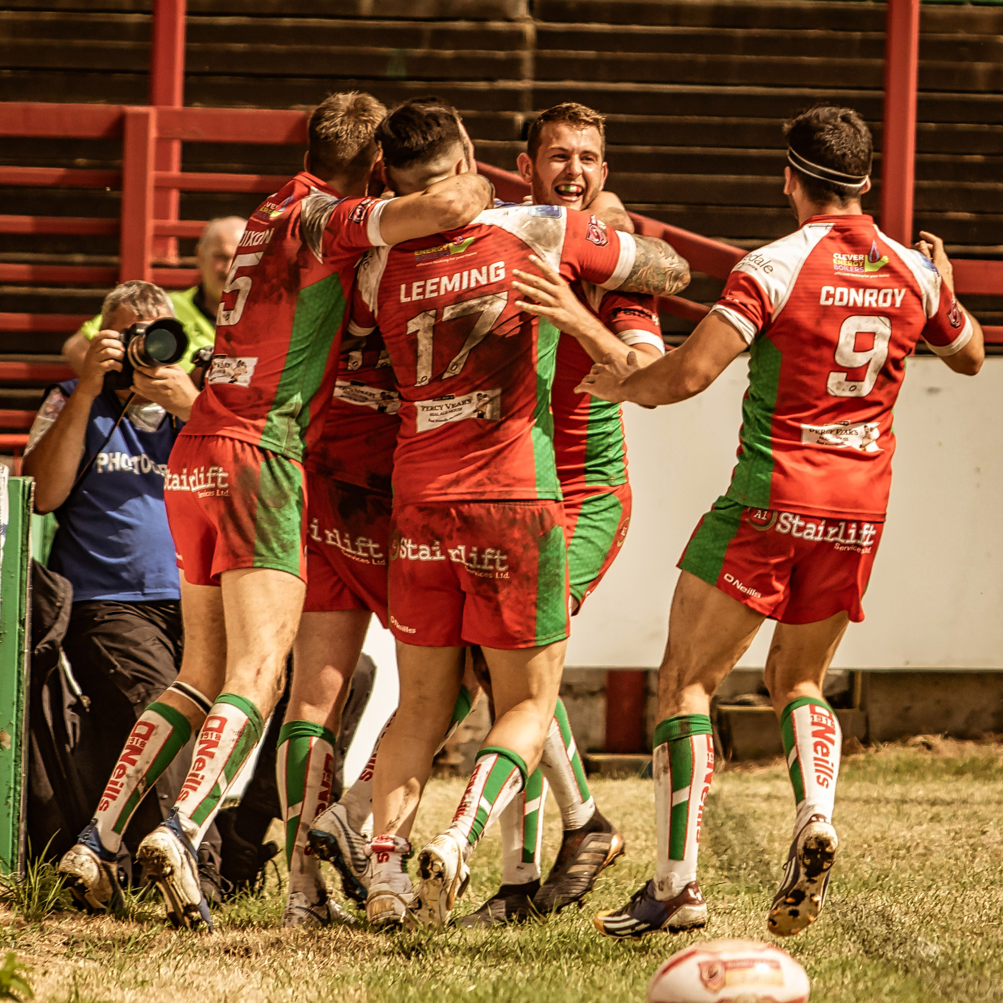 One try I did get a shot of was from a bit of a distance. Pleasing celebration pic though!