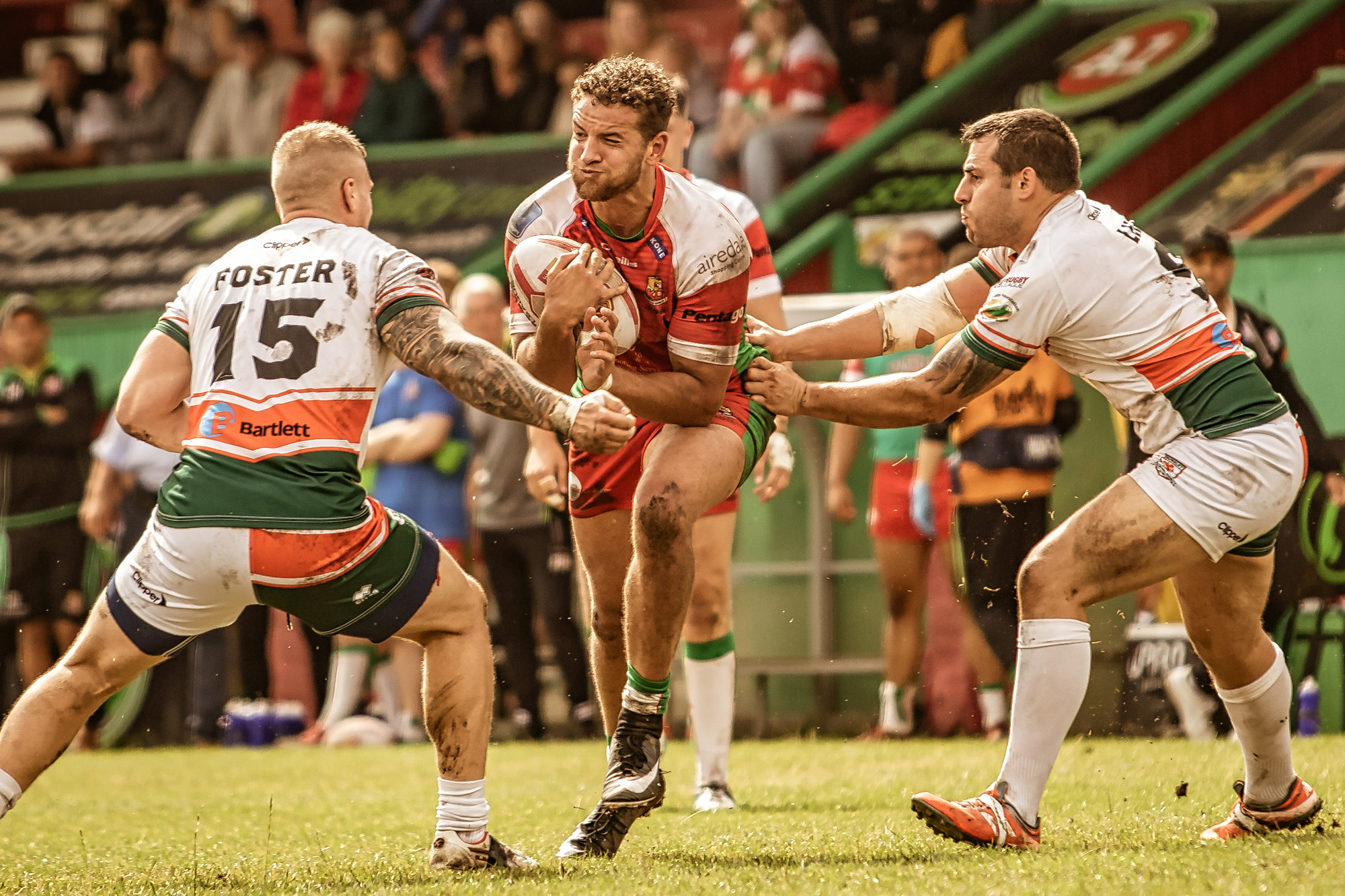 Two shots of Hamish Barnes on the attack