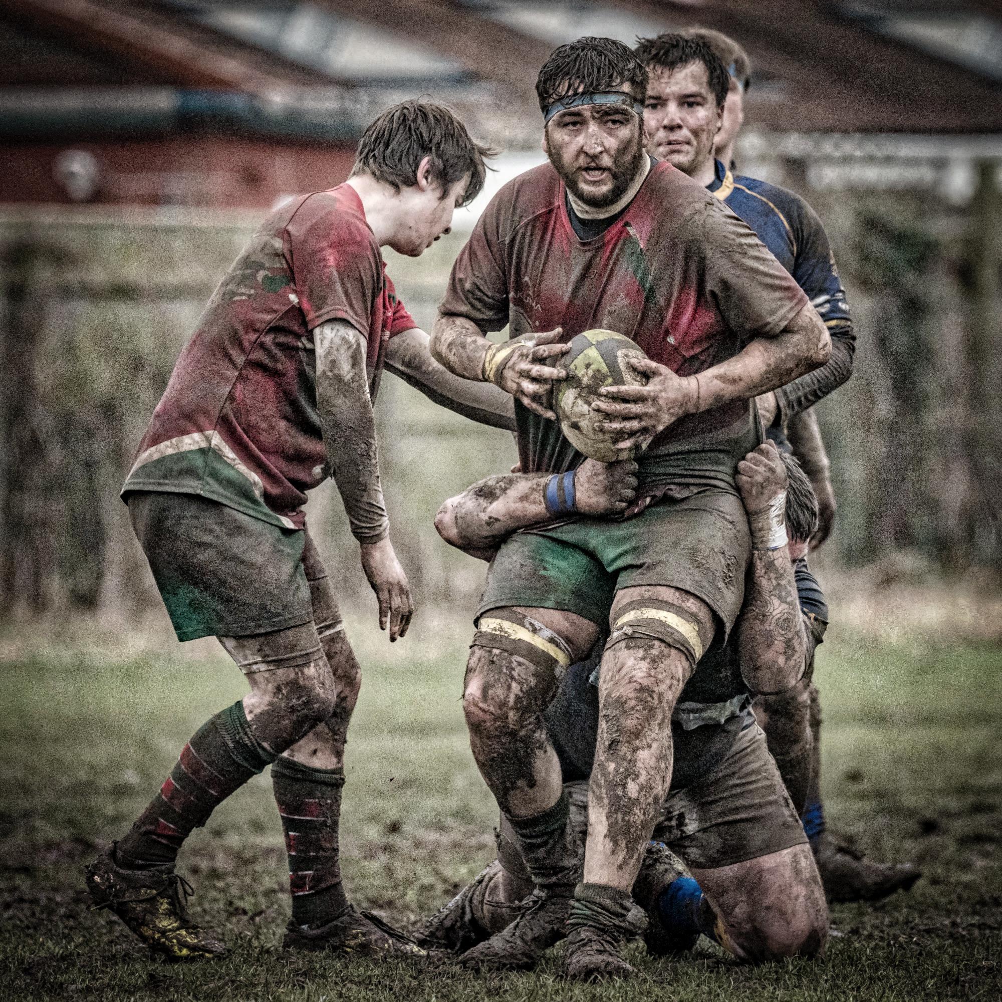 Shot from a second team game on an adjoining pitch gives a good idea of the conditions
