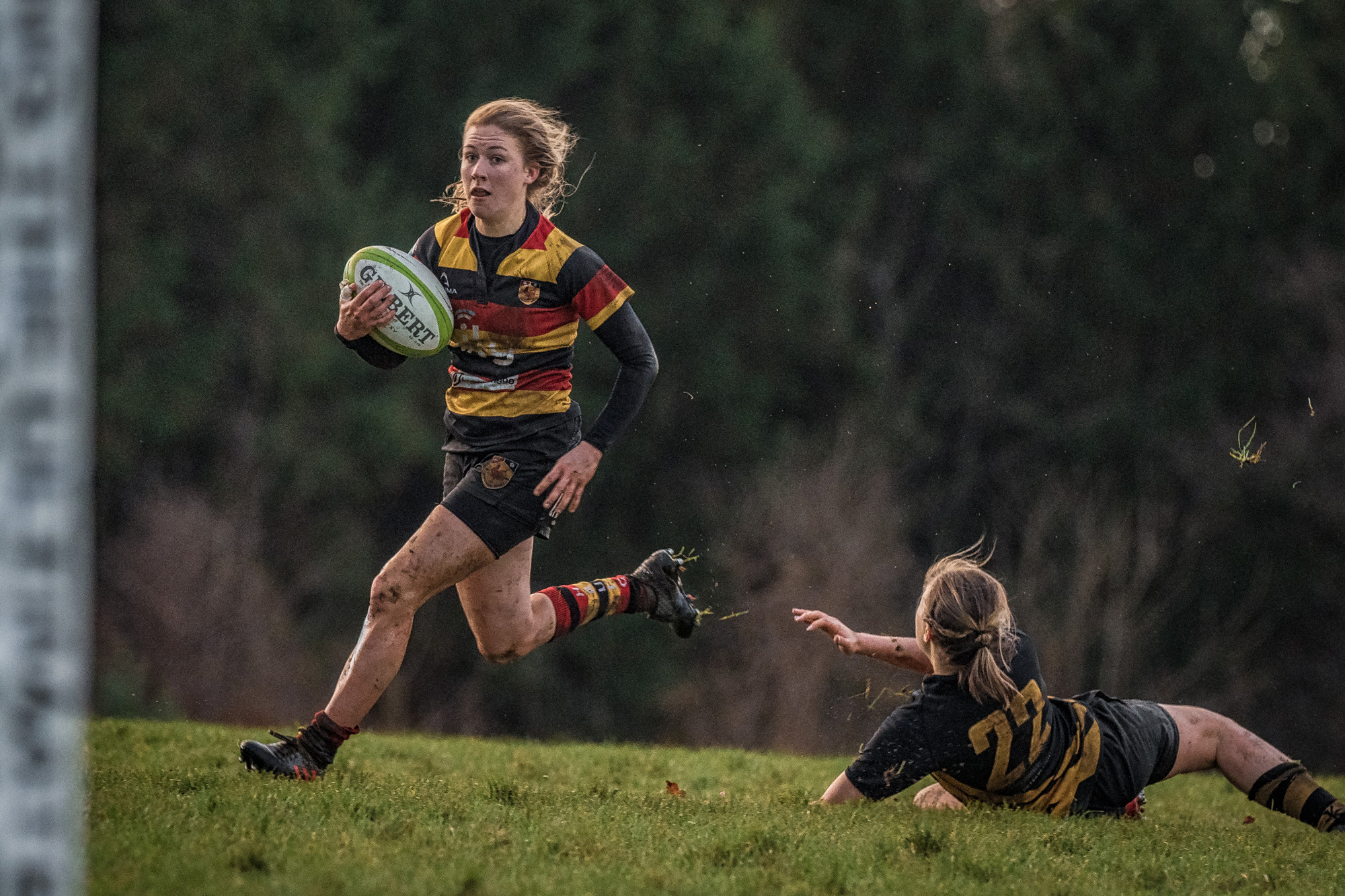 Lauren Bolger - long run for a first half try (above) and flying past the posts in the second half