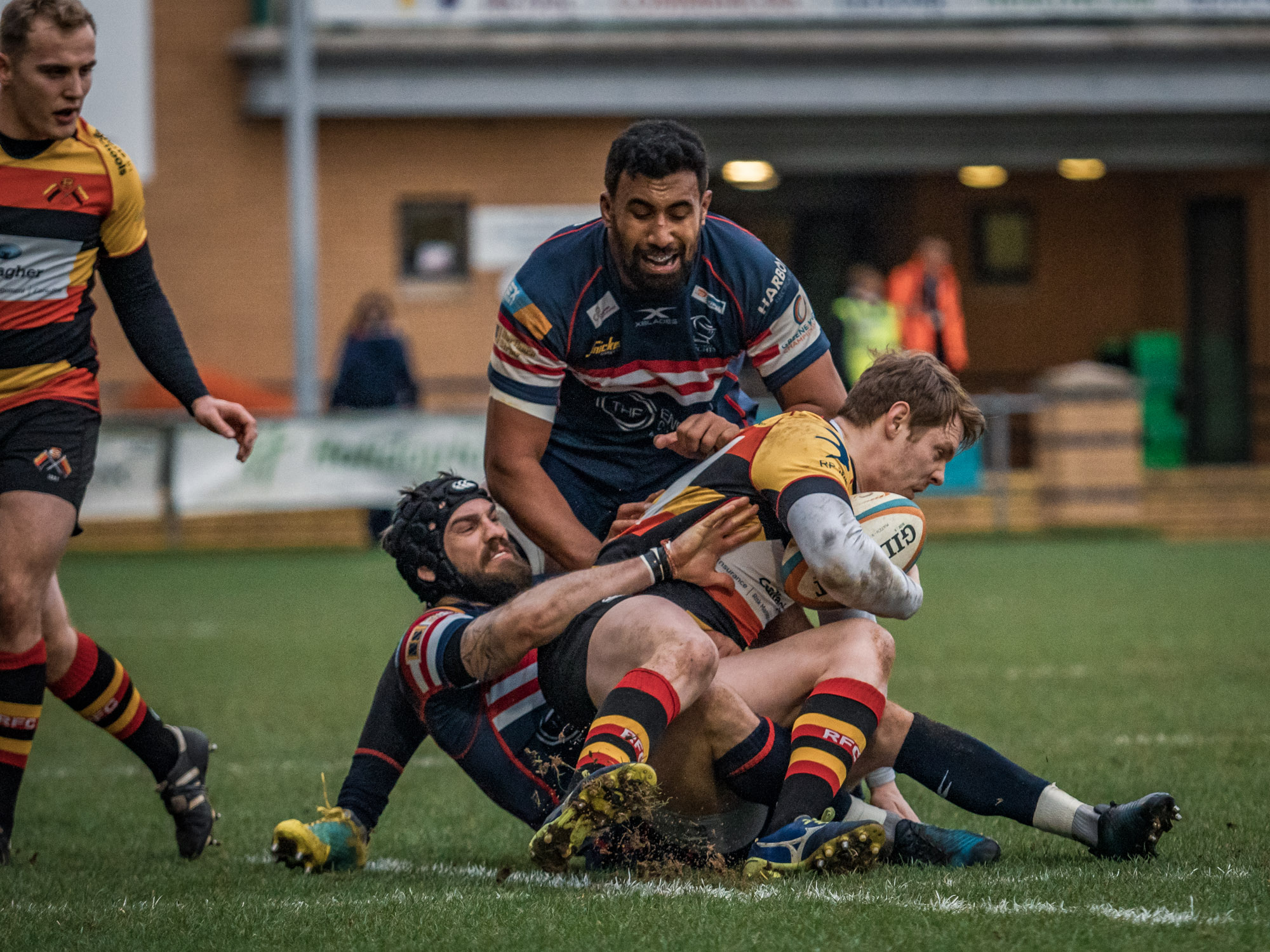 Joint effort as Doncaster's Dougie Flockhart and Josh Tyrell effect a tackle