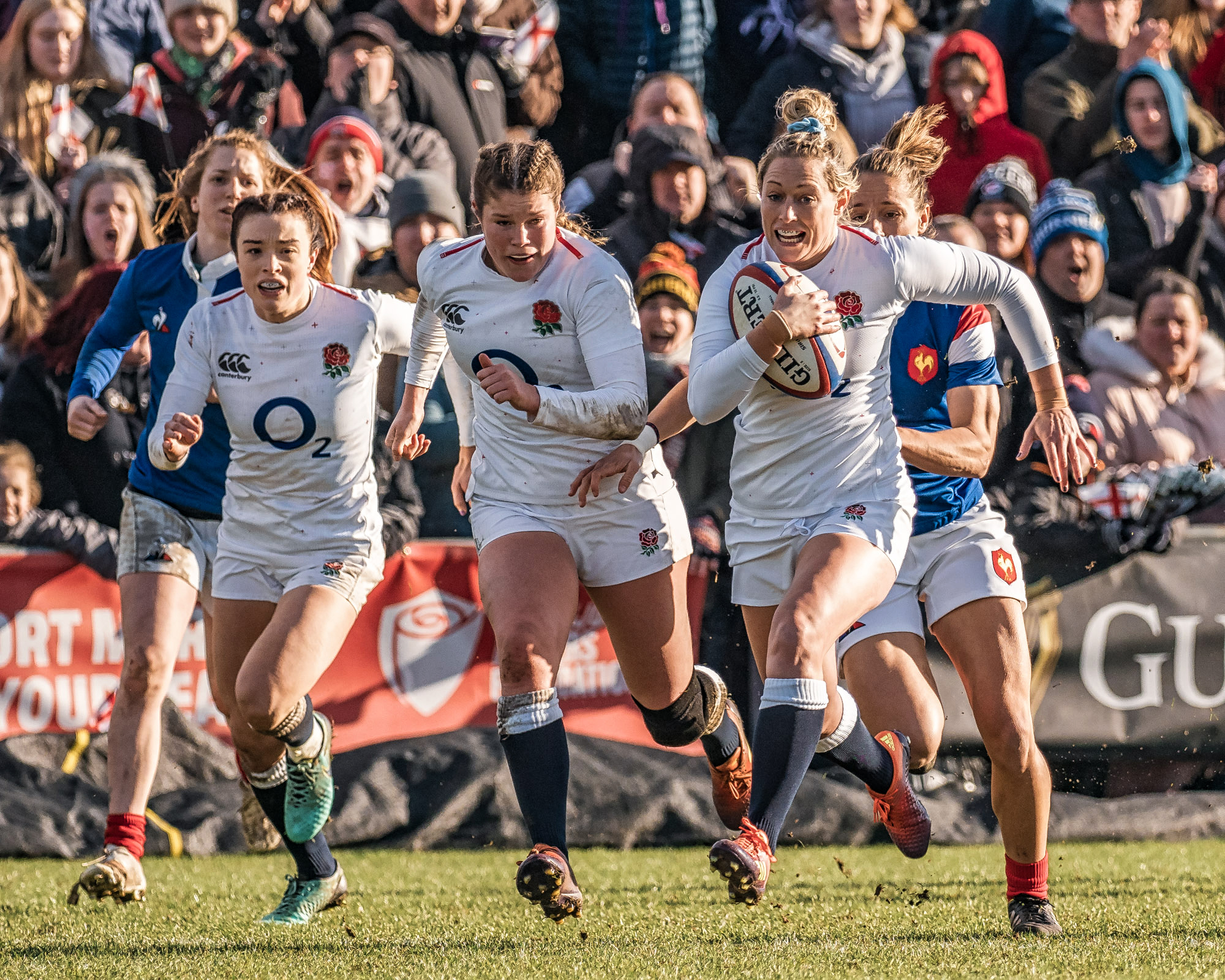 Kelly Smith, Jess Breach and Natasha Hunt in a joyous second half run that didn't quite end in a try