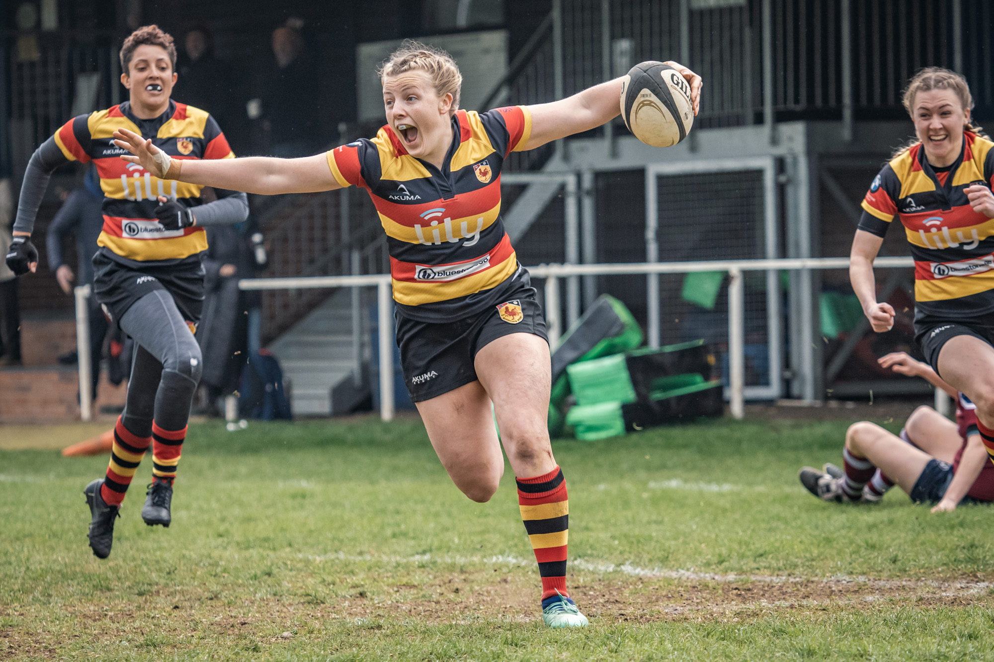 Harrogate Ladies: This picture of Alex Wallace scoring joyfully in the promotion play-off game against Bletchley has won a prize as DHL's rugby moment of the month, judged by England's Rachael Burford and GB 7's James Rodwell