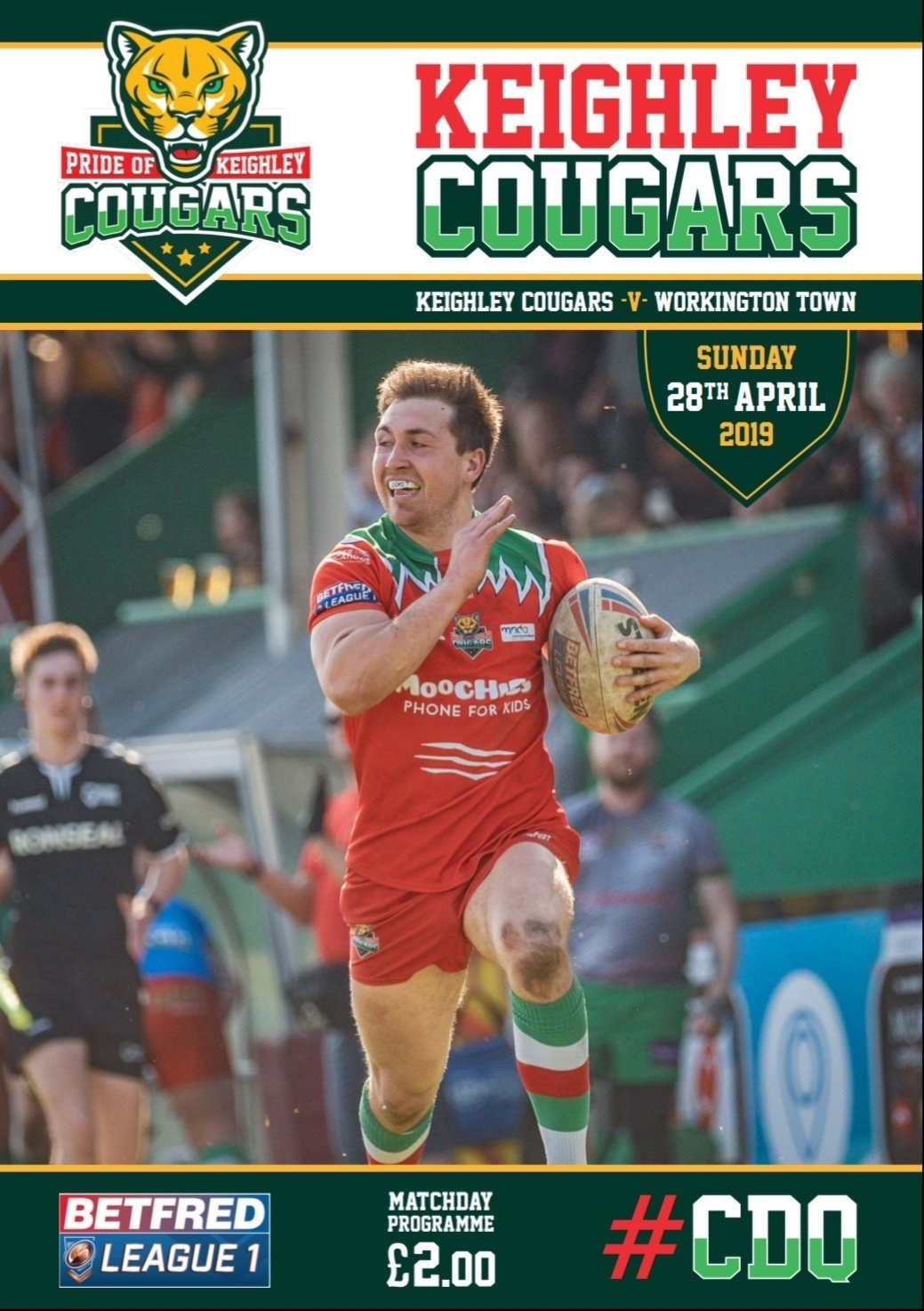 My shot of Cougars' Taylor Prell scoring a long distance try featured on the cover of the club programme