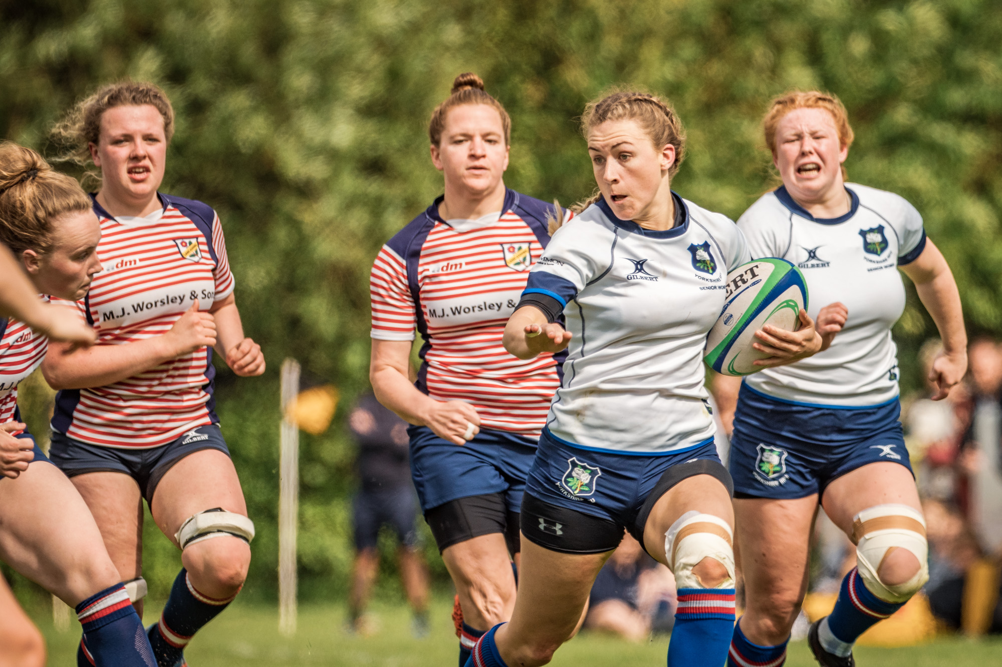 Lauren Bolger en route to a second try which eased the pressure on Yorkshire