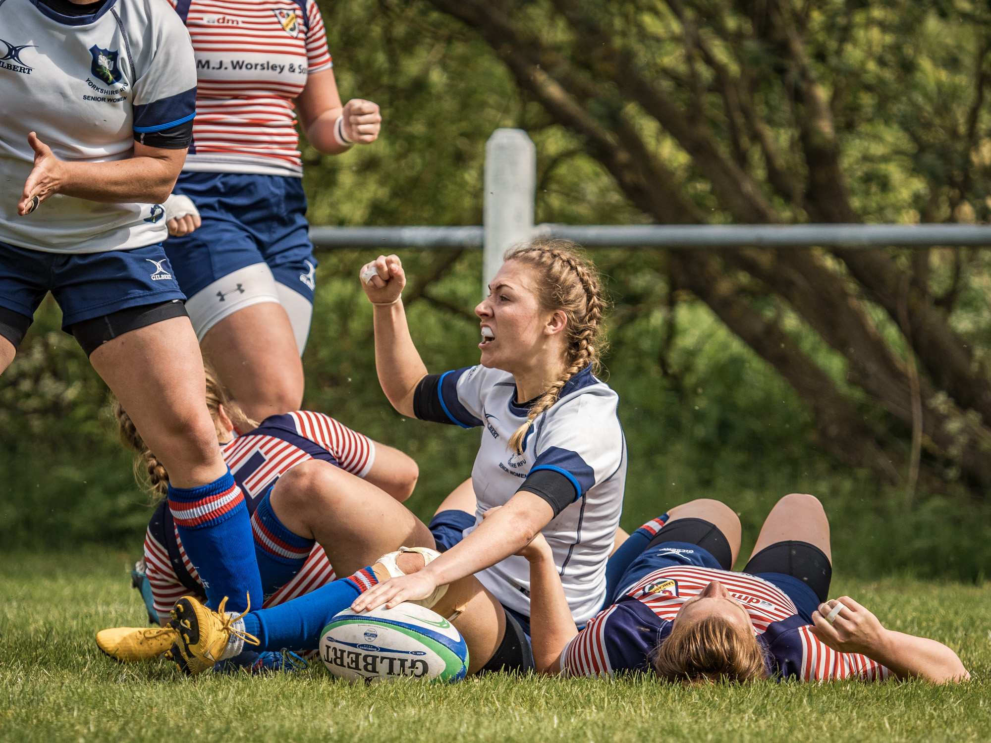 An enthusiastic crowd watches Lauren's second second half try and celebration