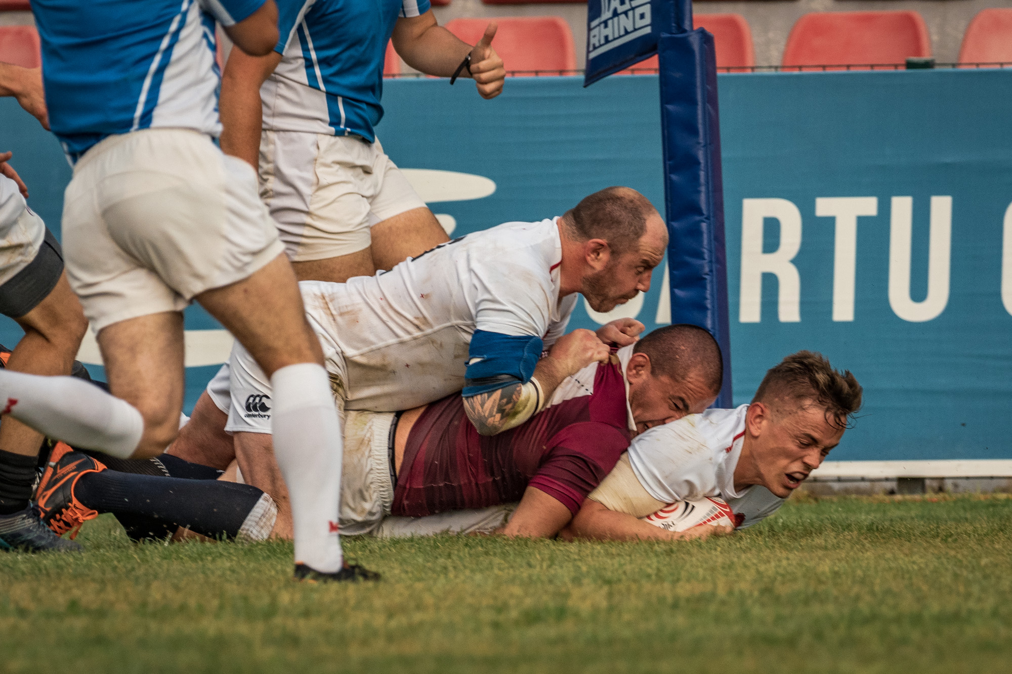 Nick Hankin again, this time scoring England Counties' first try