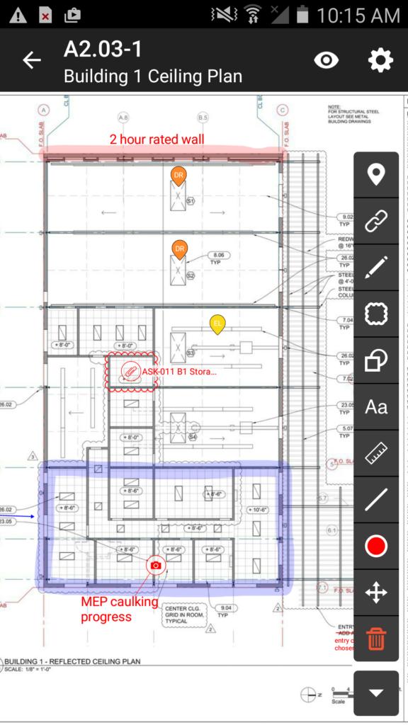 The Fieldwire task management app.