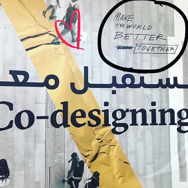 Co-designing helps make the world a better place! Wall art from #Area2071 at Dubai Emirates Towers . . . #socialinnovation #changetheworld #codesignthefuture #design #innoco
