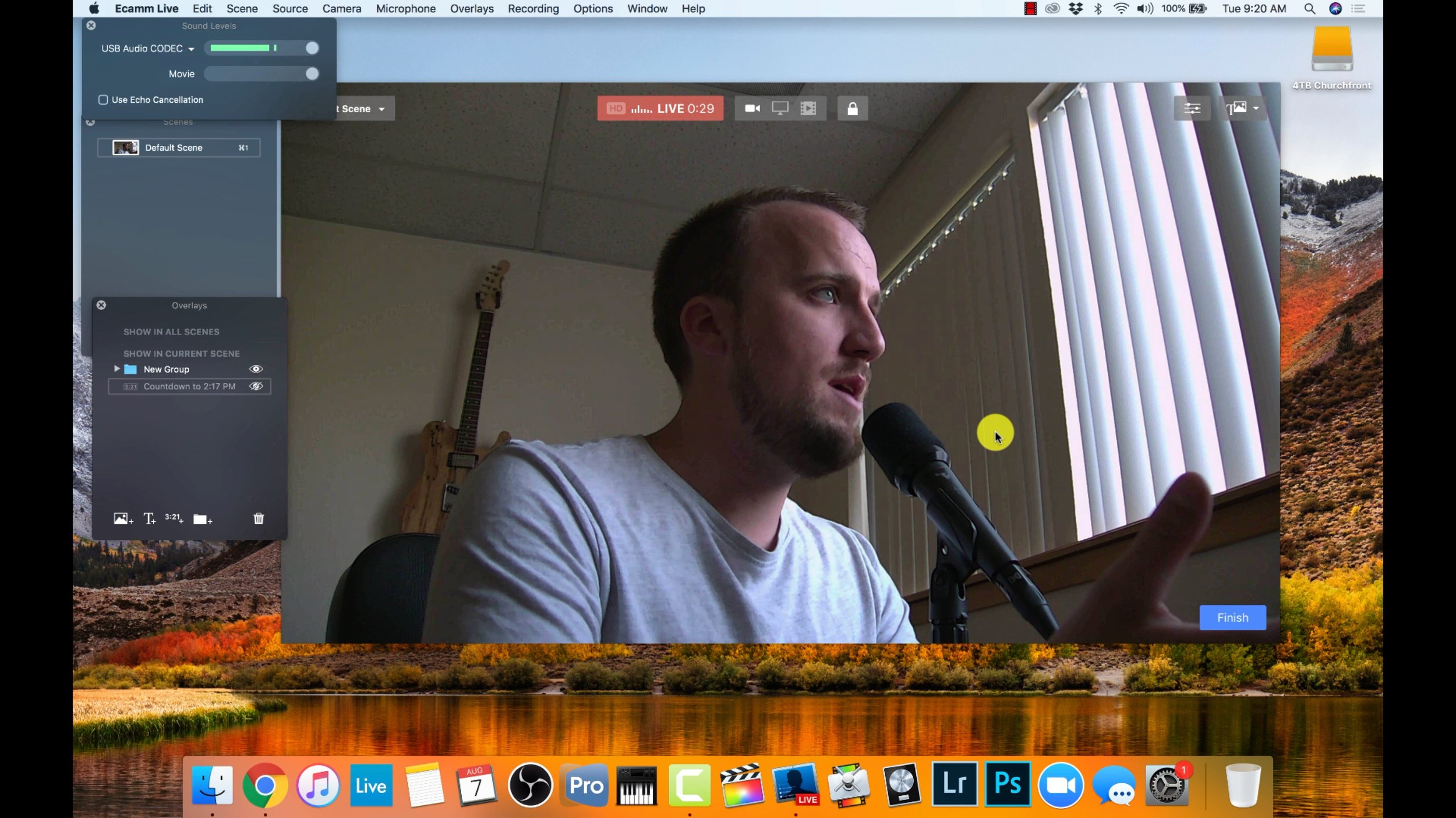 church live stream ecamm live setup
