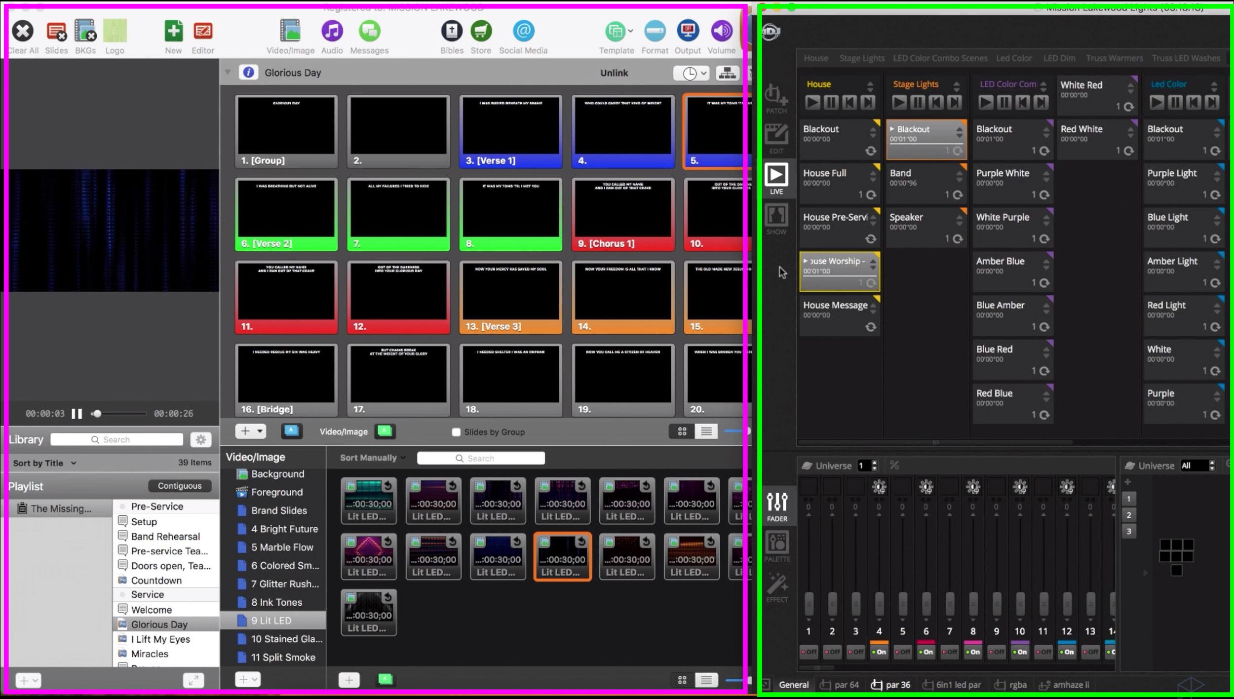 Pink rectangle=Pro Presenter screen. Green rectangle=MyDMX3.0 screen