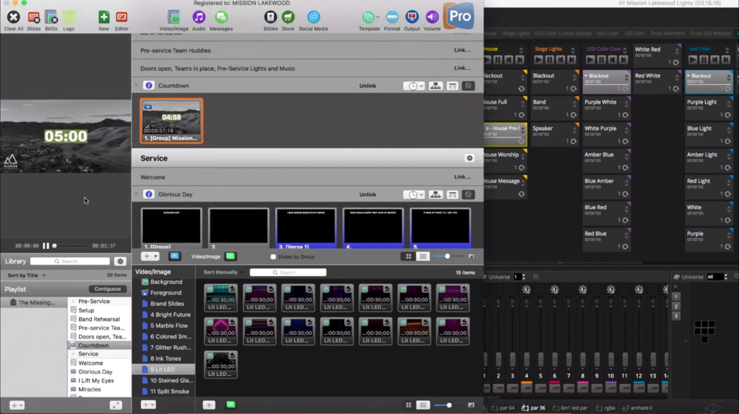 The highlighted rectangles on the MyDMX3.0 side indicate which light settings are running.