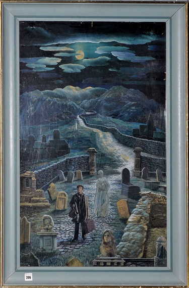 """Madge Pyle (b.1913) """"THE RETURN"""" - A SURREALISTIC MOONLIT LANDSCAPE signed oil and collage on board 82.5 x 49cms; 32 1/2 x 19 1/4in."""