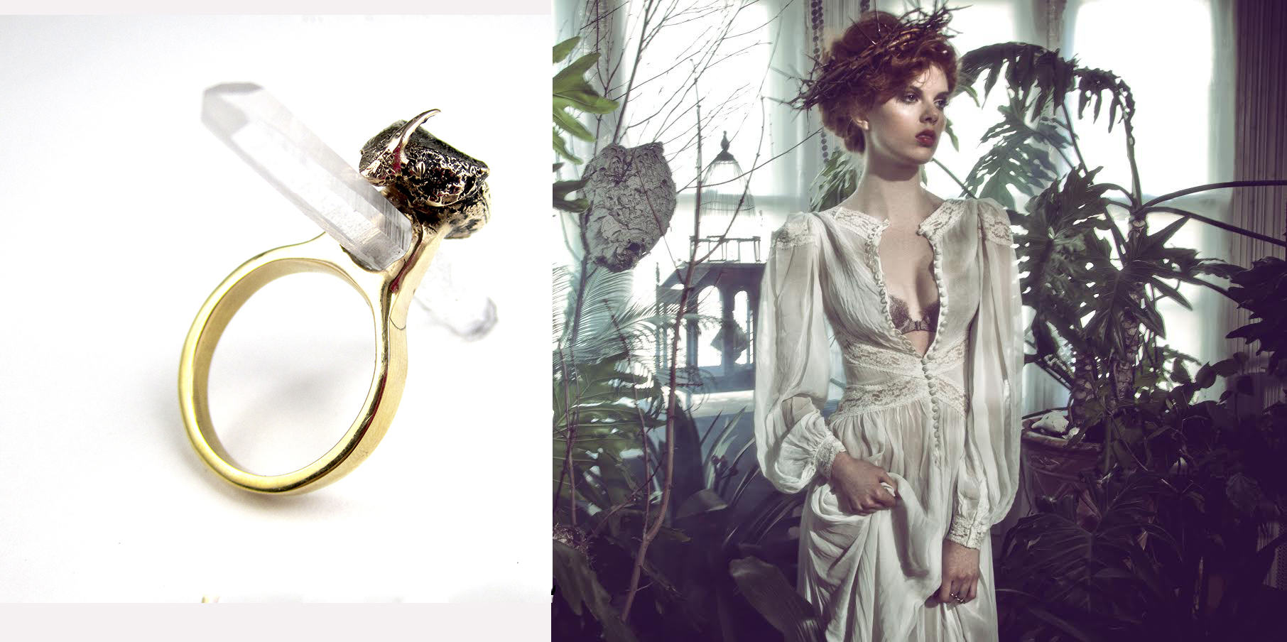 The Resurrection beetle ring featured in a Ghost editorial spread.