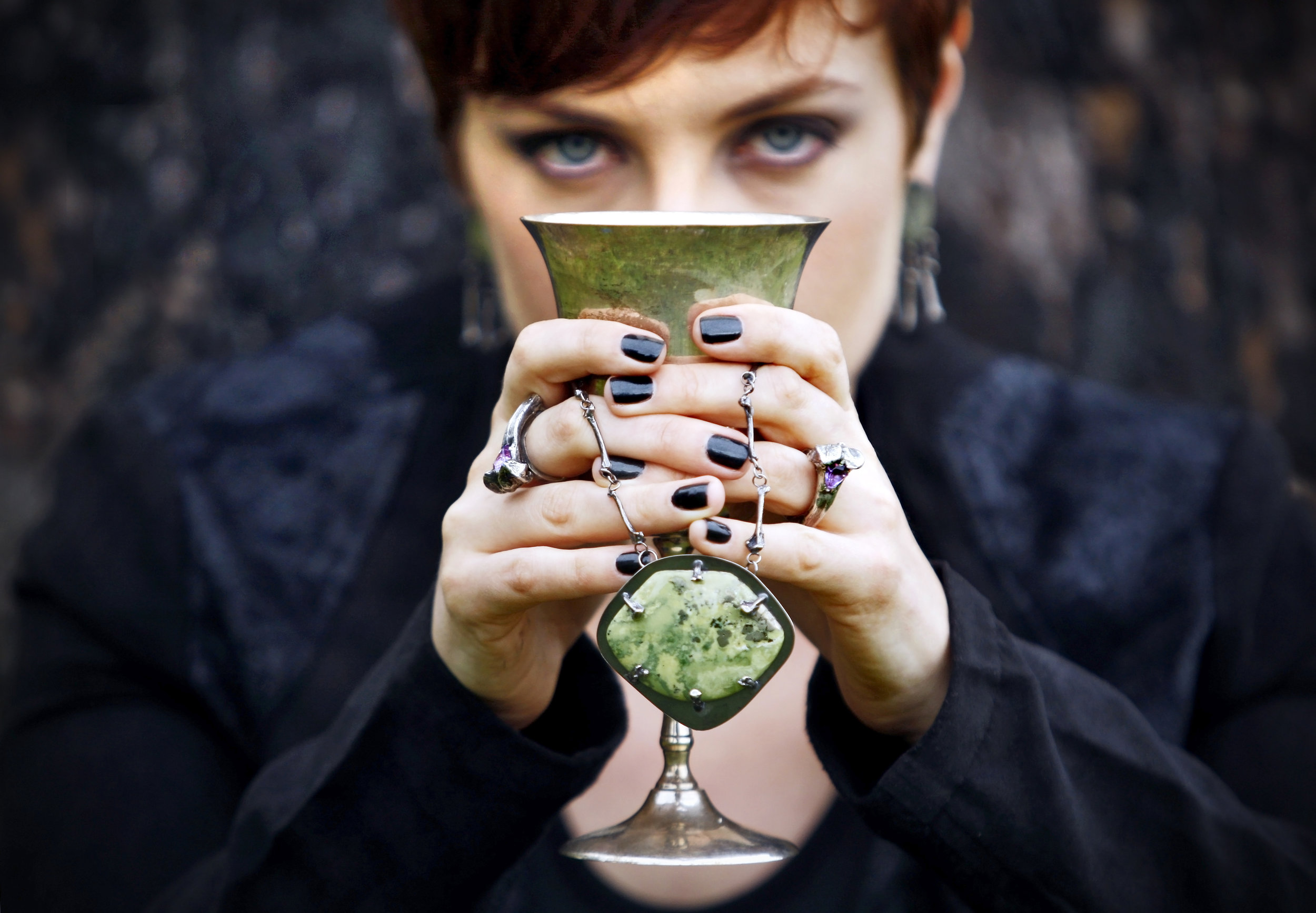 One of my favorite images from the Valkyrie Collection, SS14.  Isn't the moss green agate beautiful? And her red hair?!