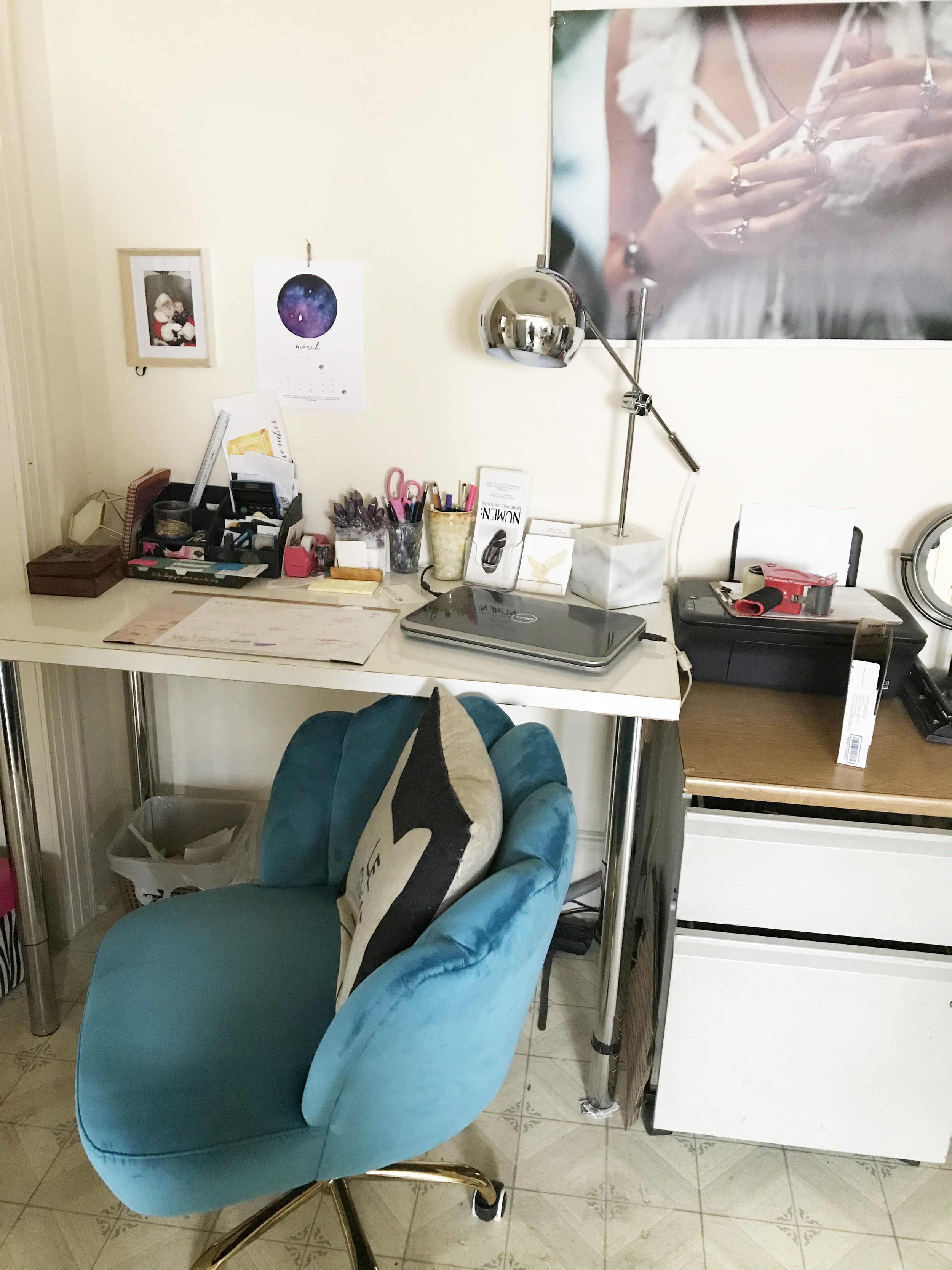 My 'office space' in our second kitchen, it's part of the mother in law suite of our 1950's house.