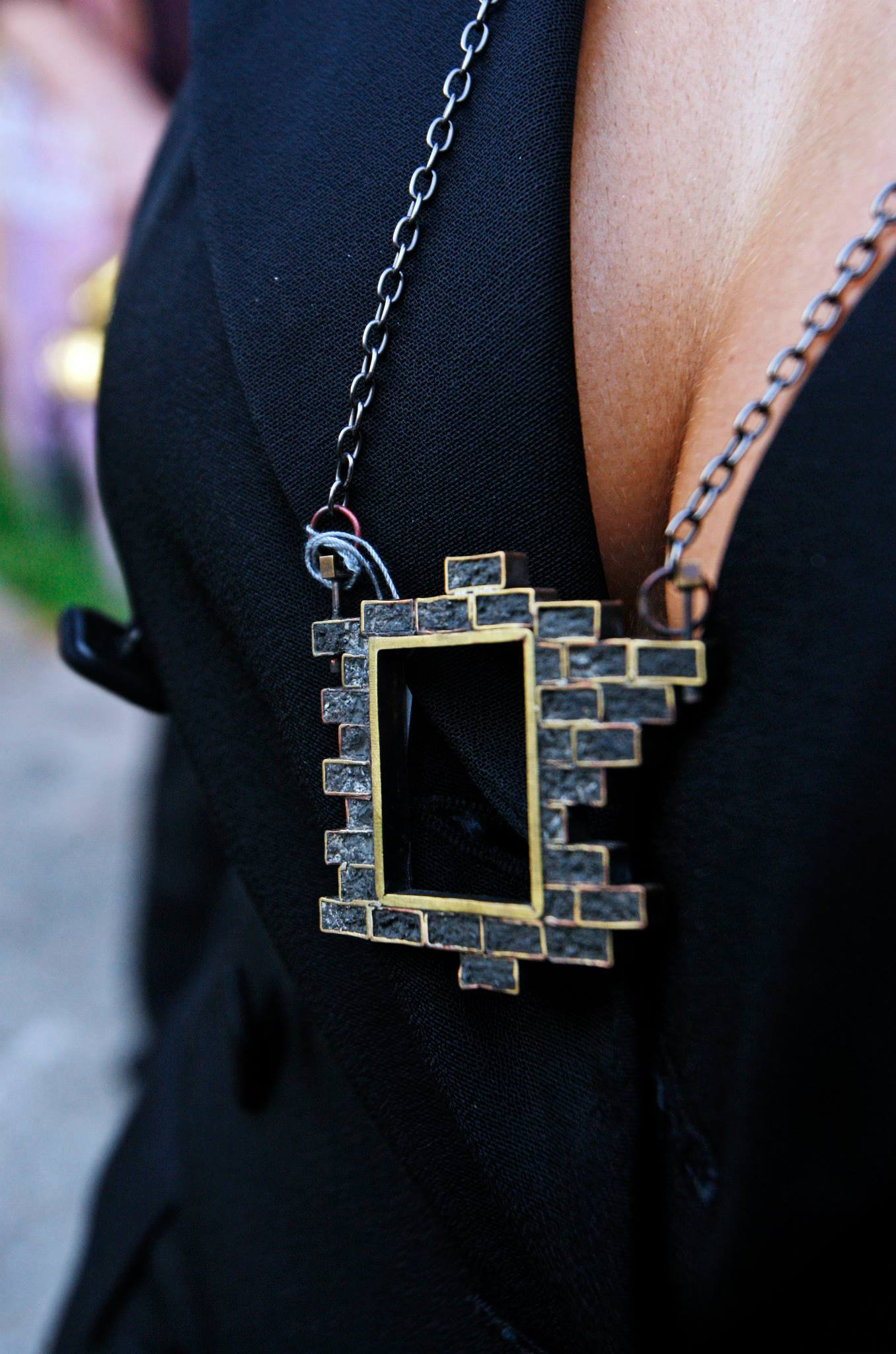 Danielle James necklace - how amazing and cool is the way she created a brick window into a necklace?