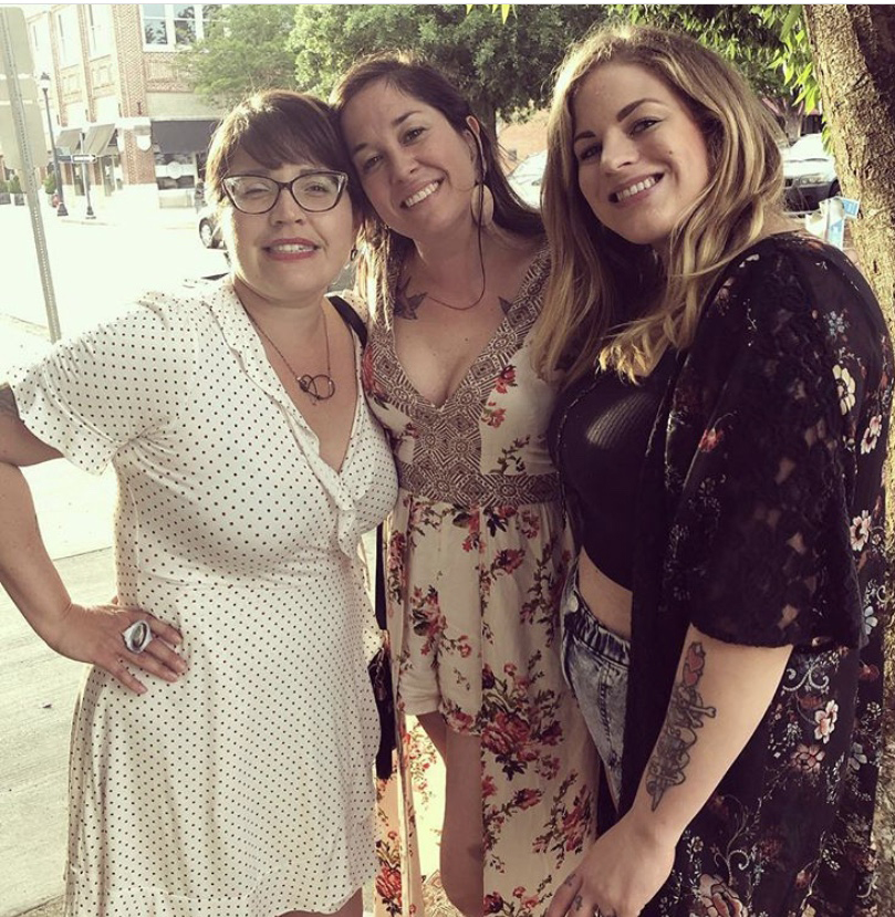Here I am with Kelly and our friend/artist/momboss Kristen Hardee