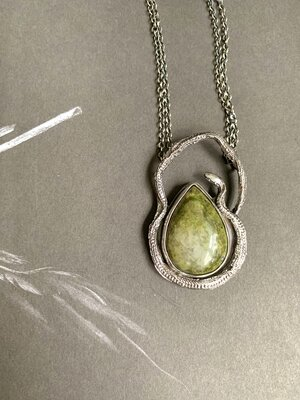 Unakite Stone Pendant with Silver Star Tetrahedra and Gold Seed of Life