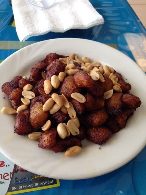 """George told me to ask for """"Big Shoe"""" at the restaurant, Anokye Krom at Millbury Street. He wasn't there but I did order a yummy plate of fried plantains and peanuts."""