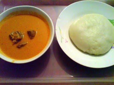 Fufu and peanut soup