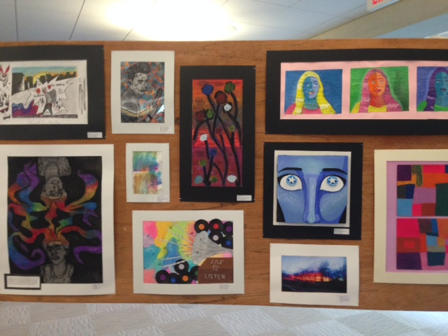 Every spring, the library hosts an art show of art works made by Worcester public school students all over the city. The whole library is dedicated to the exhibition of the art of our young people. How incredible is this!