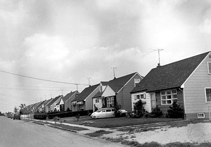 Levittown, the classic prototype of growing suburbs post World War II,provided  little houses of ticky tack fo r the mass exodus of predominantly white people leaving the cities.