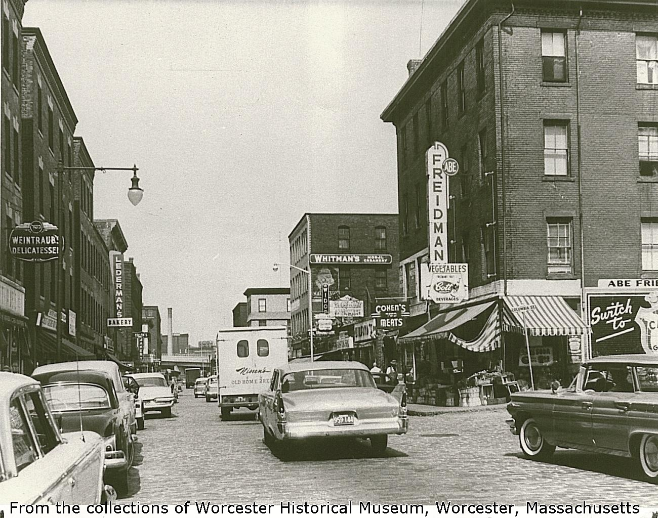 At the end of Shabbat after sunset on Saturdays, I was told that Water Street was so packed with people that one could barely move. Photo courtesy of Worcester Historical Museum