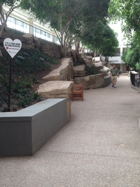 """You don't even have to hit a city sidewalk to exercise. 7.5 times around this interior""""park"""" makes for a mile. Look! You can even find trees in here. You don't have to go outside at all! Everything about this project is drawing you inside the four walls."""