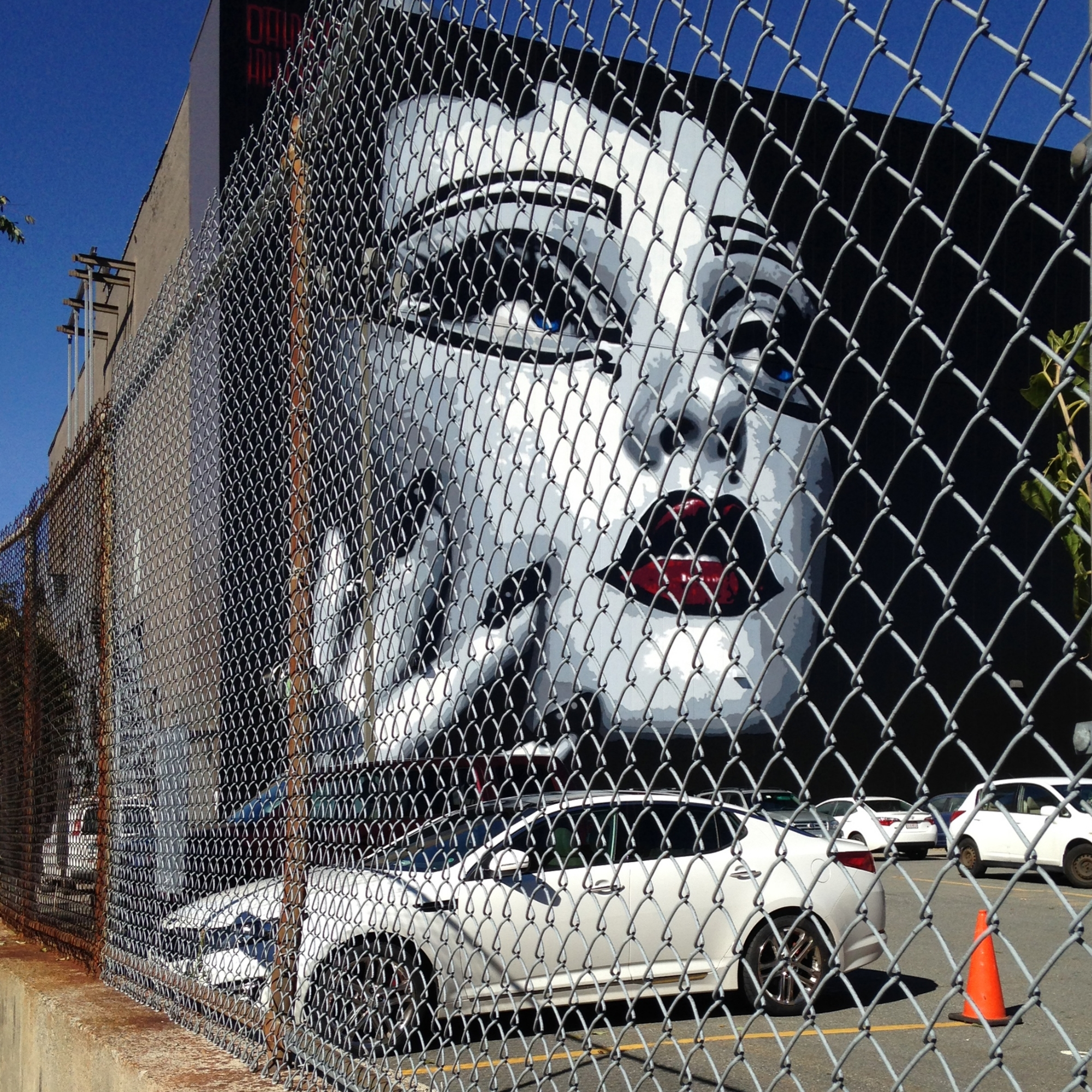 """Isn't this a great image? Maybe the woman on the wall is saying, """"Oy Vay! I'm going to cry if you don't get me out of this surface parking lot. Don't fence me in. Let's walk, bike or build a trolley up and down Main Street."""" What do you think she is thinking?"""