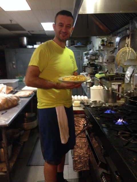 Alex works in the back kitchen on the busy weekend mornings.  He knows exactly how I like my omelet cooked.