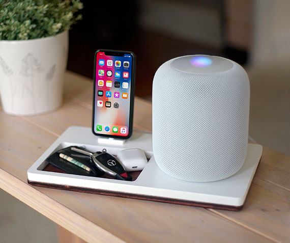 NytStnd HOMEPODS 3   Charges an iPhone 8, X, XS, XS Max & XR with a HOMEPOD holder and a tray area for keys, wallet, etc! White and Midnight versions are within the listing.