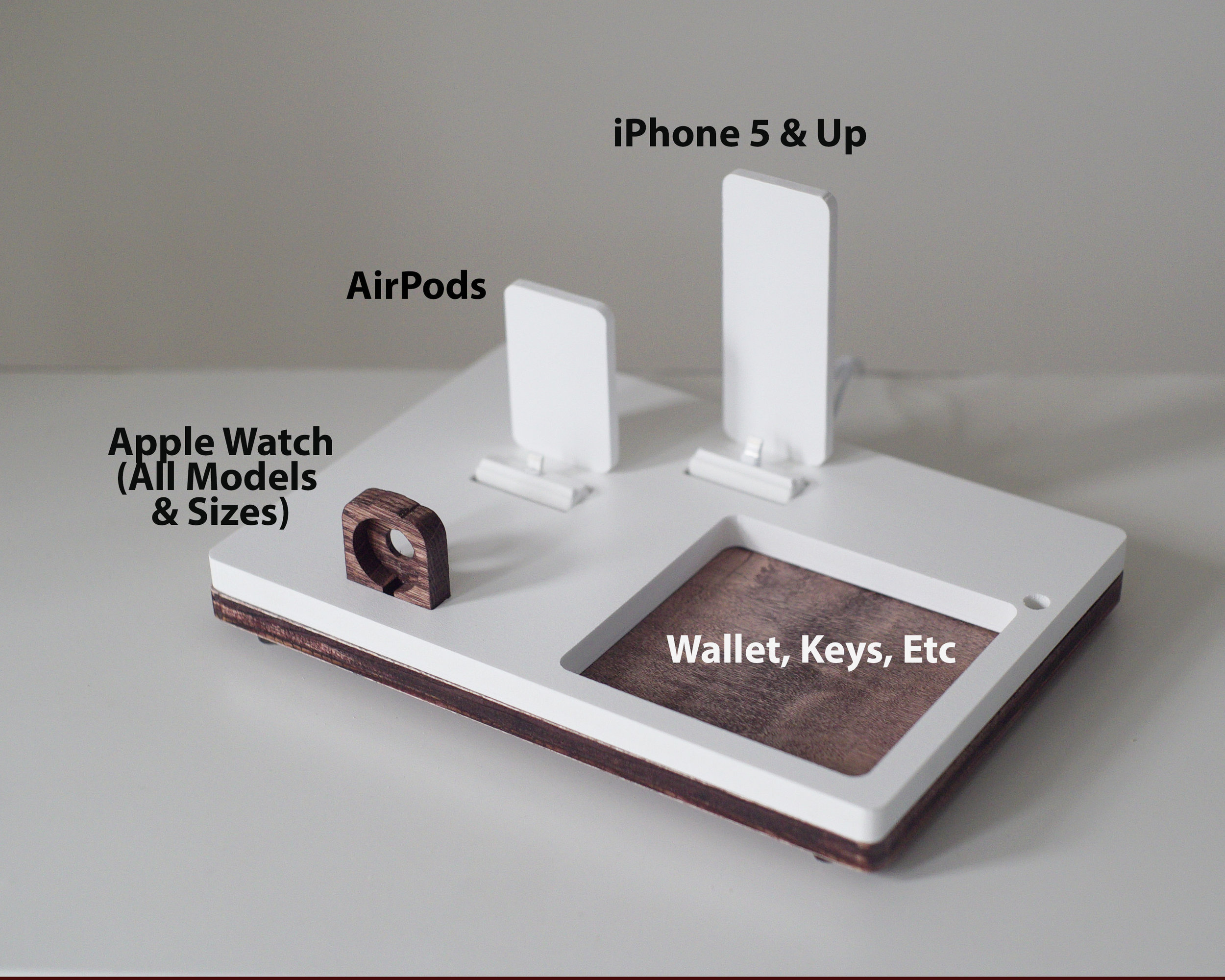 AIRPODS TRIO 3 White | Charging Dock | Wireless Apple Docking Stand for  iPhone Xs Xr 8 AirPods Apple Watch | Tray | Home decor | Gifts for Her —