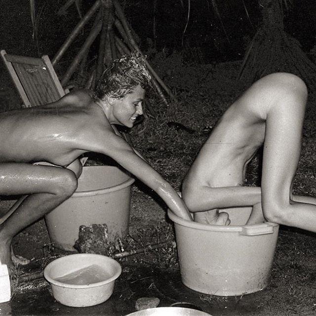 Help out a friend today.  #laurenhutton and #susanforristal hair washing technique in Tahiti  Via @julystars  #IndustriaInspiration
