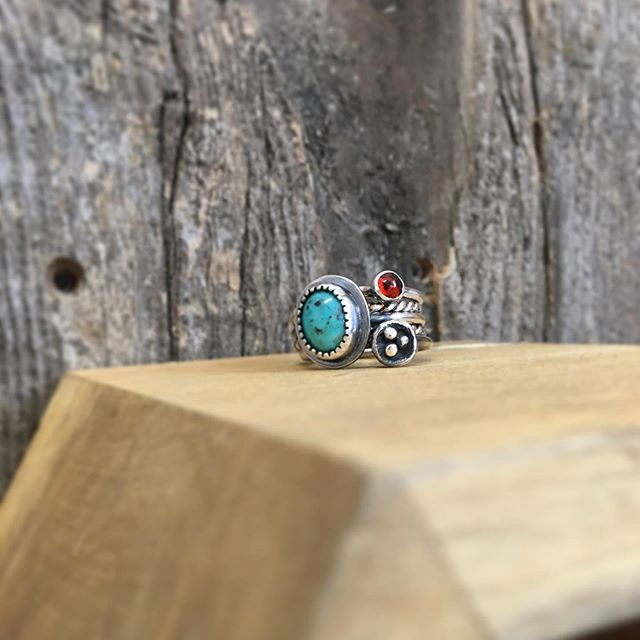 Rustic stacked turquoise and amber ring. A classic combination!