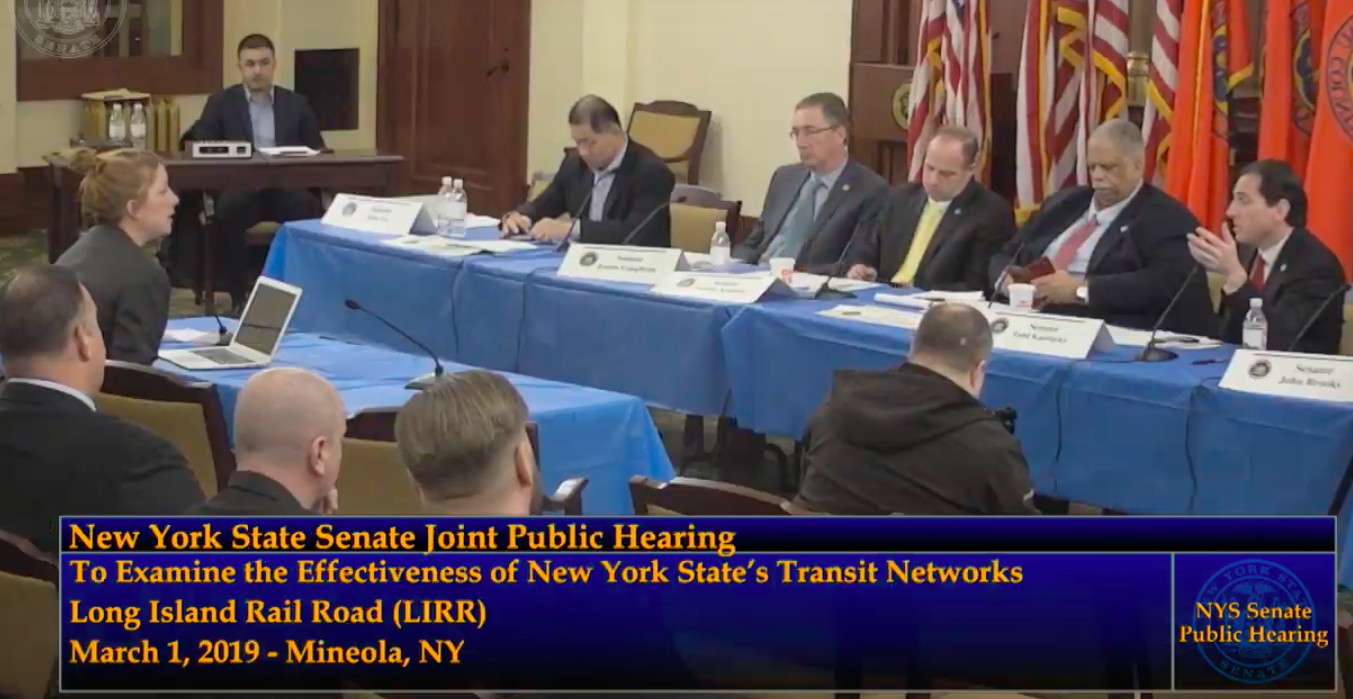 Commuter Needs - Advocating for complete bicycle infrastructure at LIRR station, congestion pricing and improved bus connections at the New York Senate Transportation Committee hearings in Mineola, March 2019.